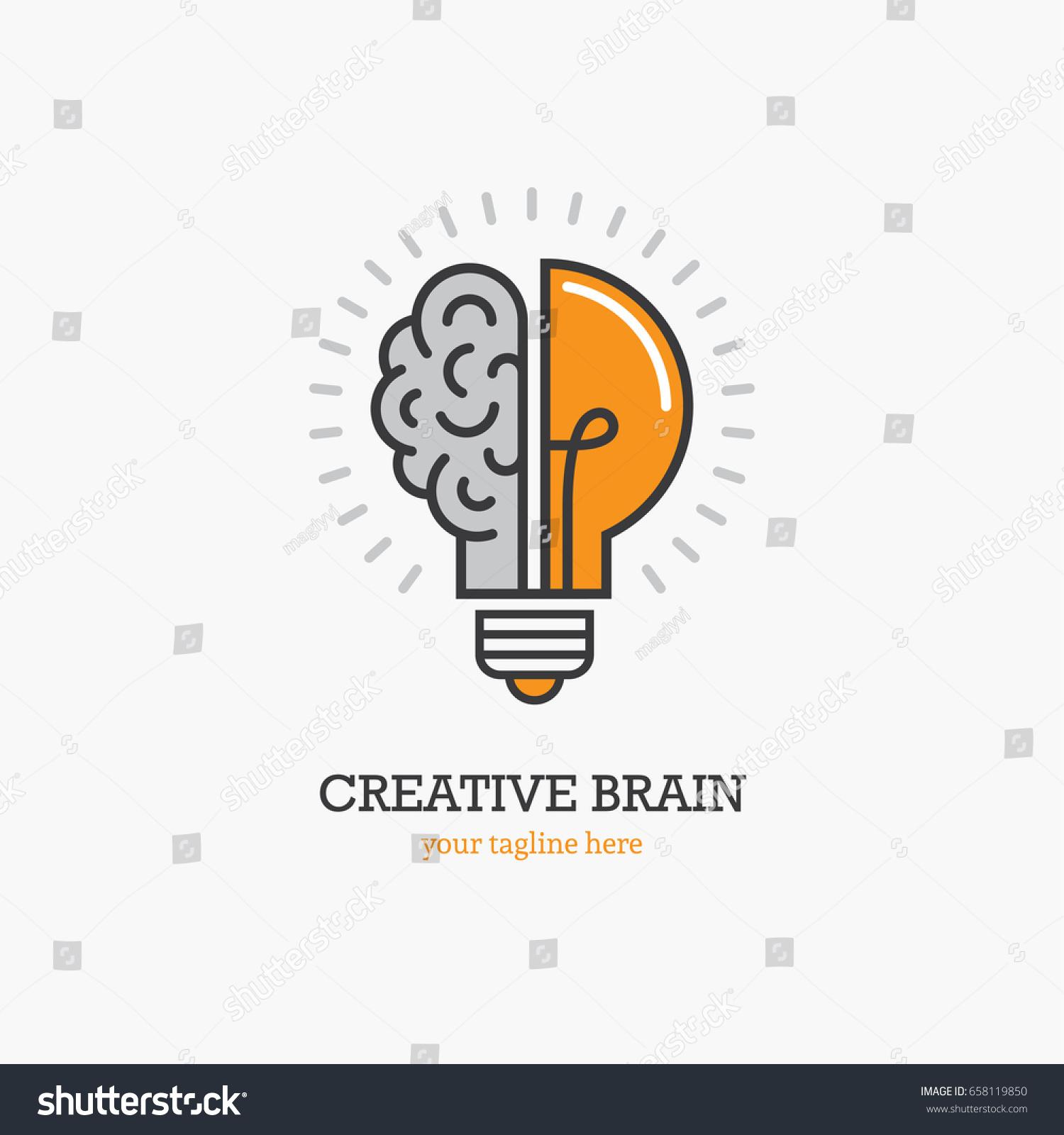 Logo Half Light Bulb Brain Isolated Stock Vector Royalty Free