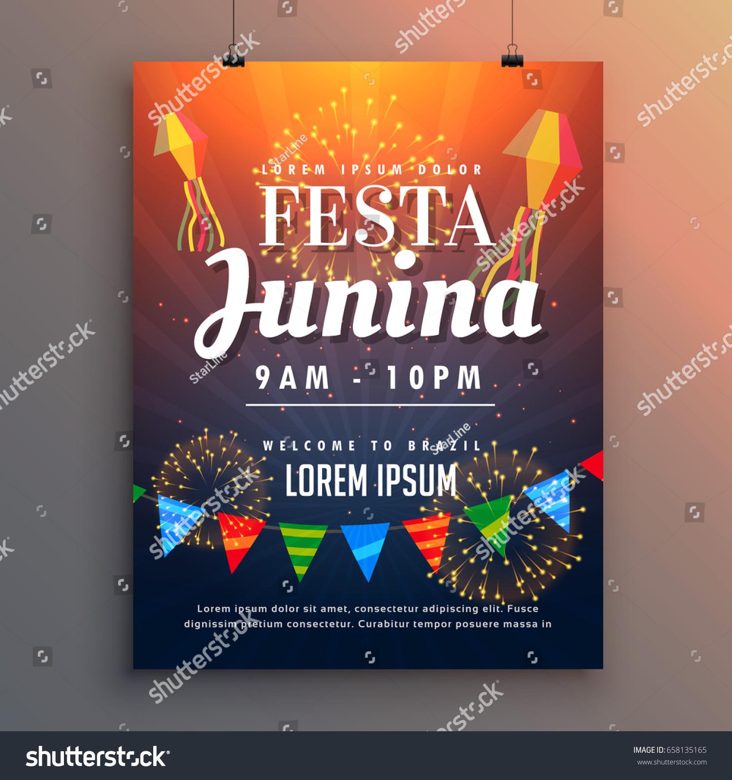 Festa Junina Party Invitation Flyer Design Stock Vector 658135165 ...