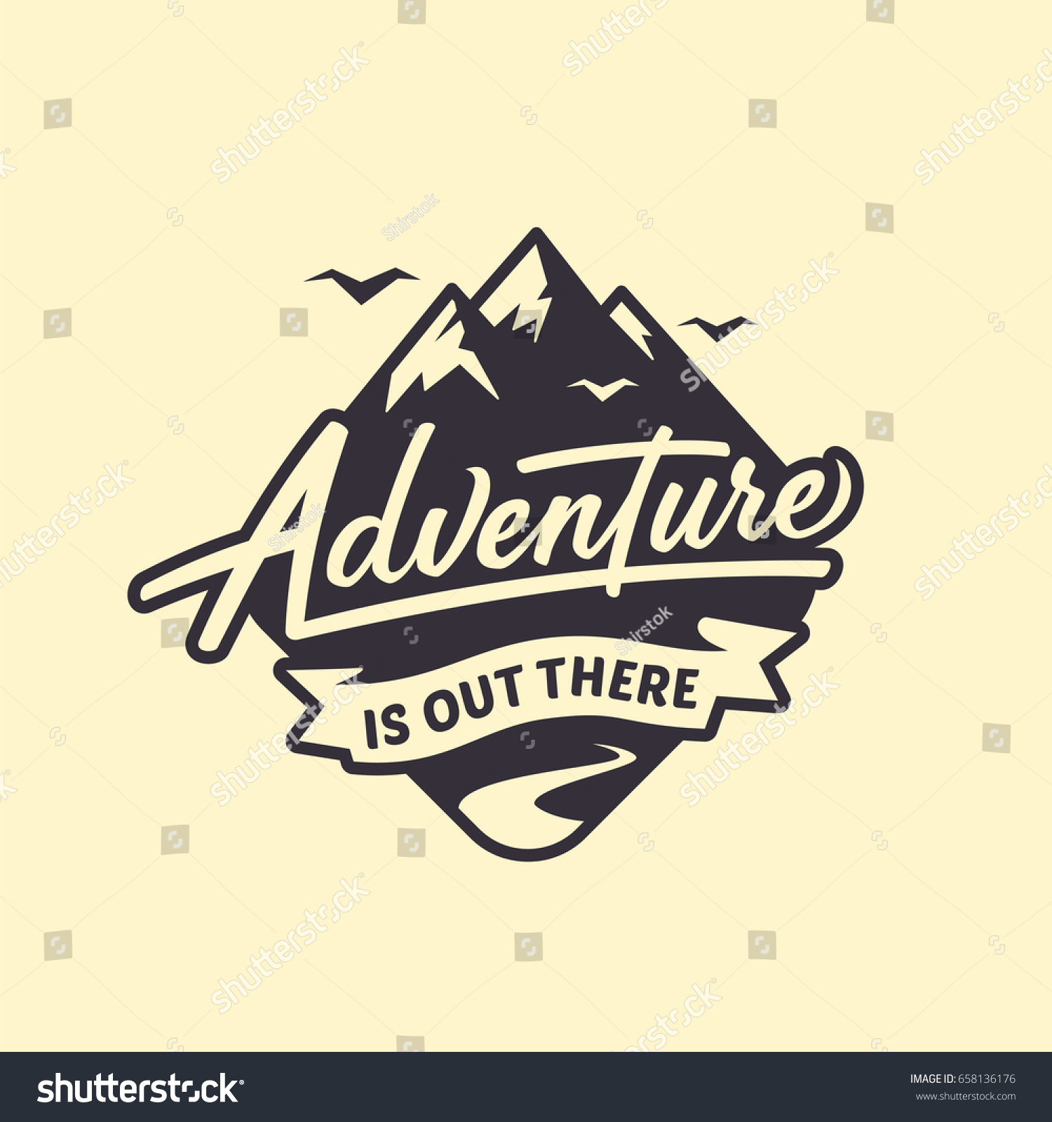 Adventure Out There Lettering Inspiring Typography Stock Vector