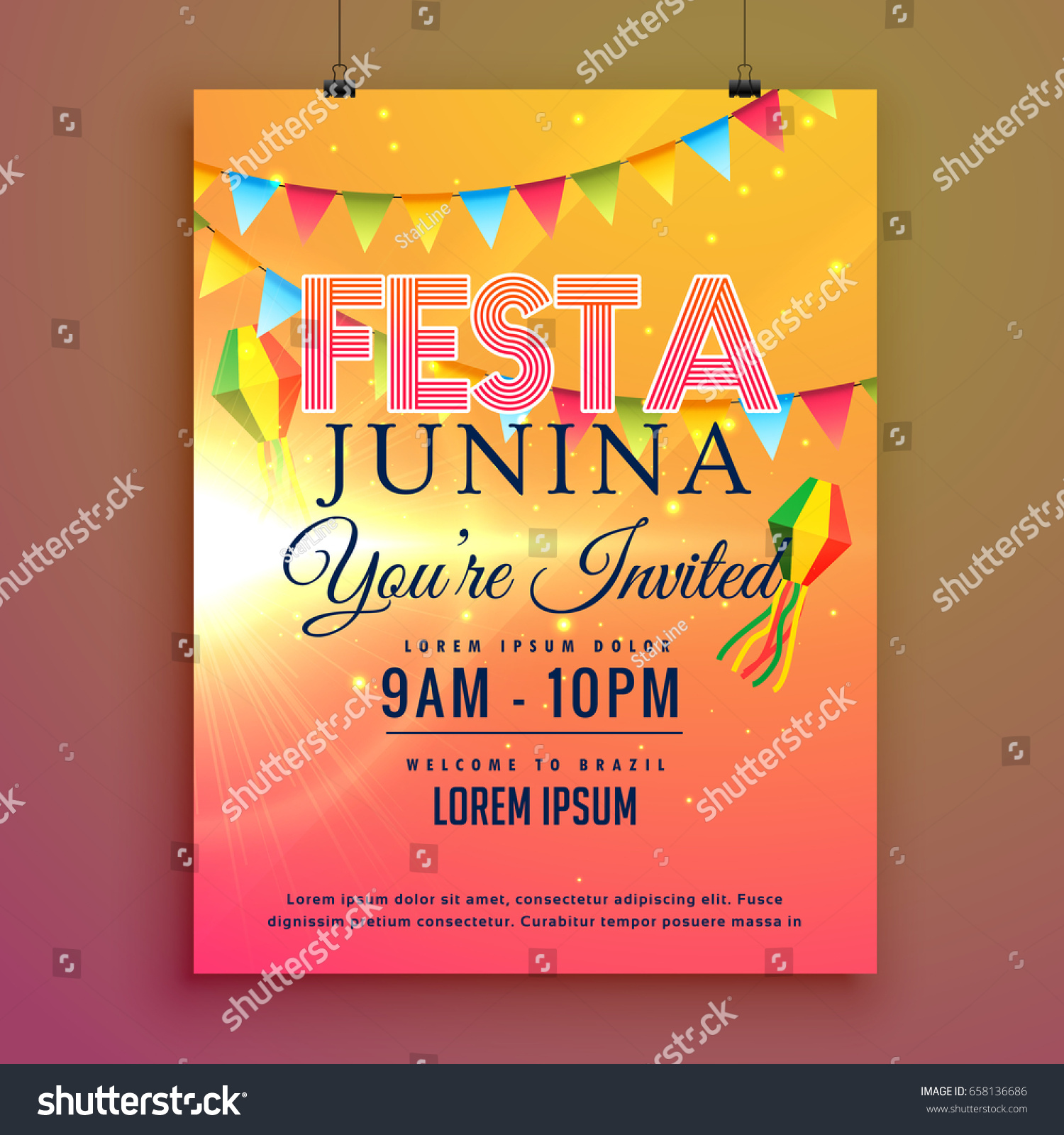 Festa Junina Party Invitation Flyer Design Vector 658136686 – Party Invitation Flyer