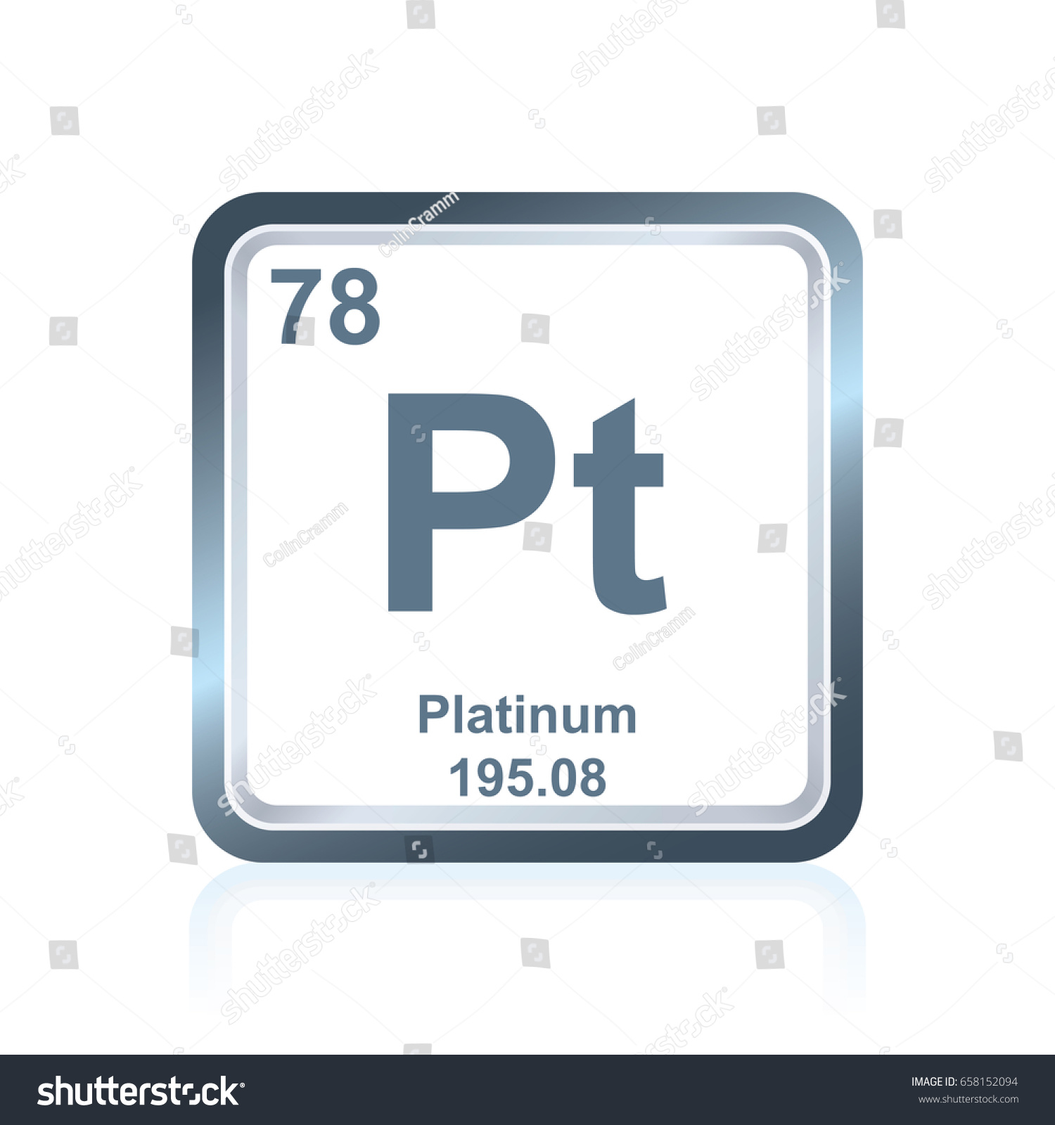 of elements platinum seen as image vector including symbol atomic chemical on table stock the element periodic
