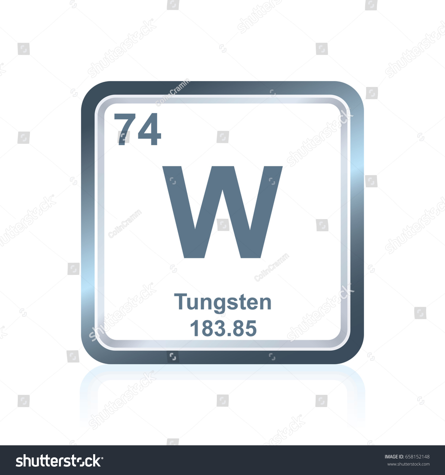 Symbol Chemical Element Tungsten Seen On Stock Vector Royalty Free