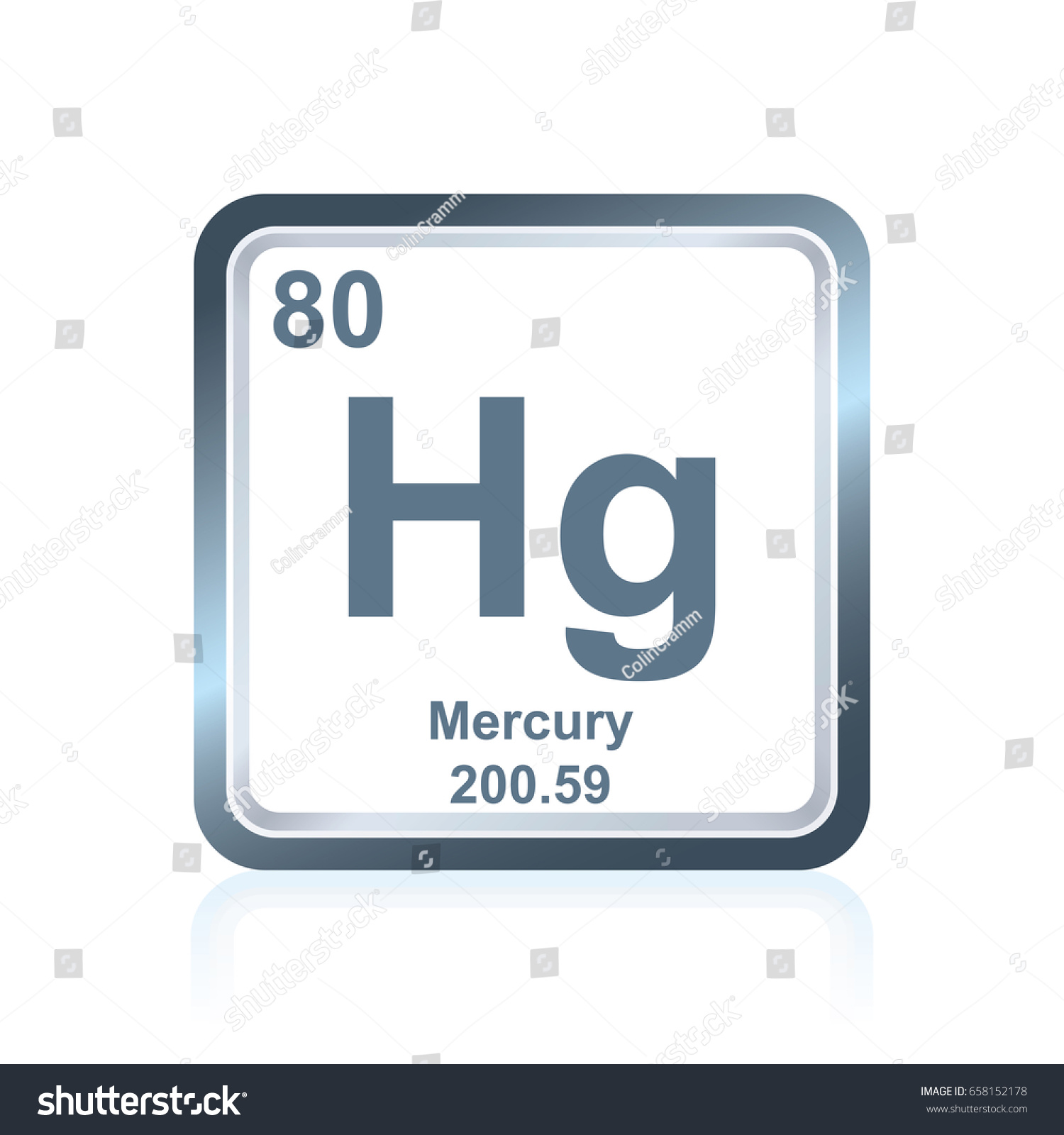 Symbol chemical element mercury seen on stock vector 658152178 symbol of chemical element mercury as seen on the periodic table of the elements including gamestrikefo Images