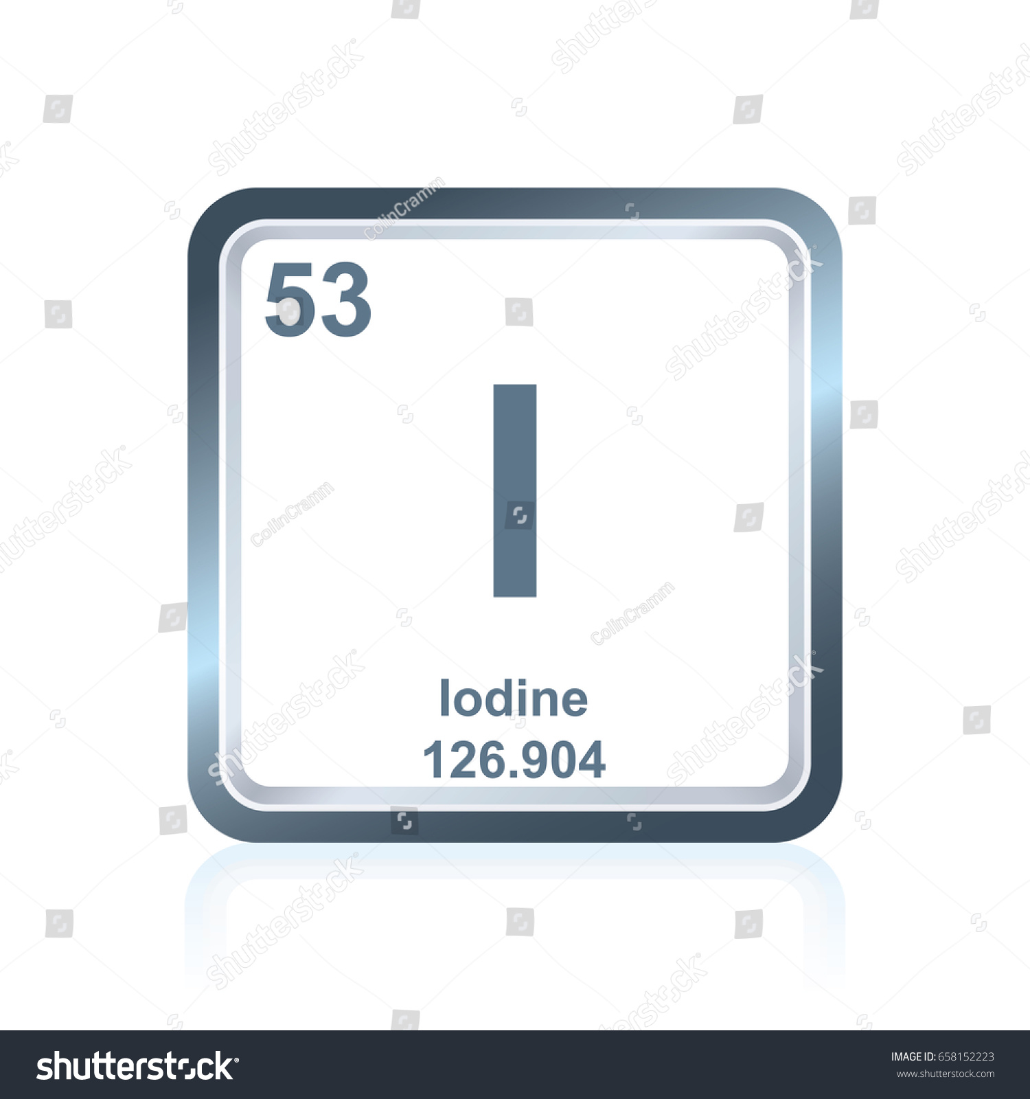 Symbol chemical element iodine seen on stock vector 658152223 symbol of chemical element iodine as seen on the periodic table of the elements including gamestrikefo Choice Image