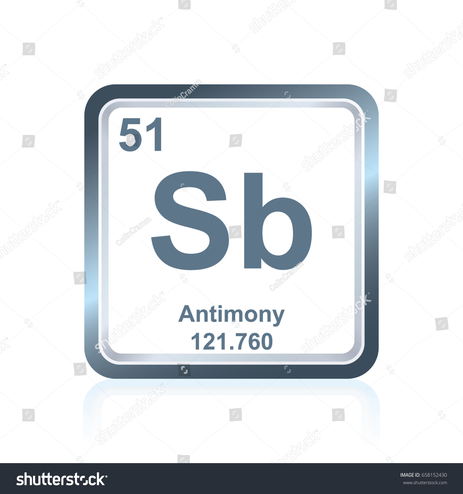 Symbol chemical element antimony seen on stock vector 658152430 symbol of chemical element antimony as seen on the periodic table of the elements including gamestrikefo Choice Image