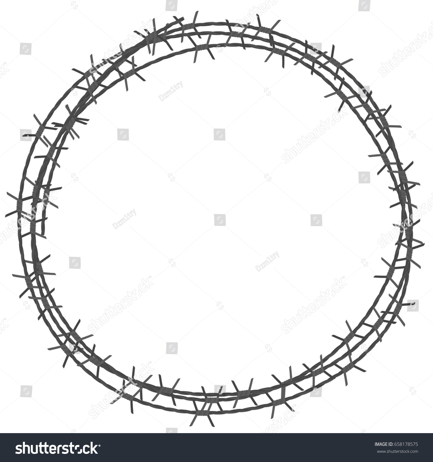 Barbed wire circle border vector illustration stock