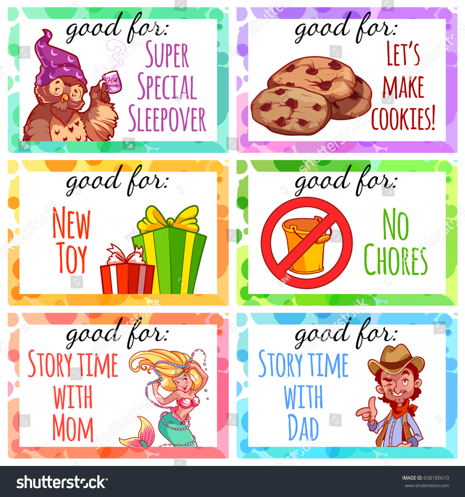 Printable Kids Coupons Use Gift Vector Stock Vector 658185610 ...