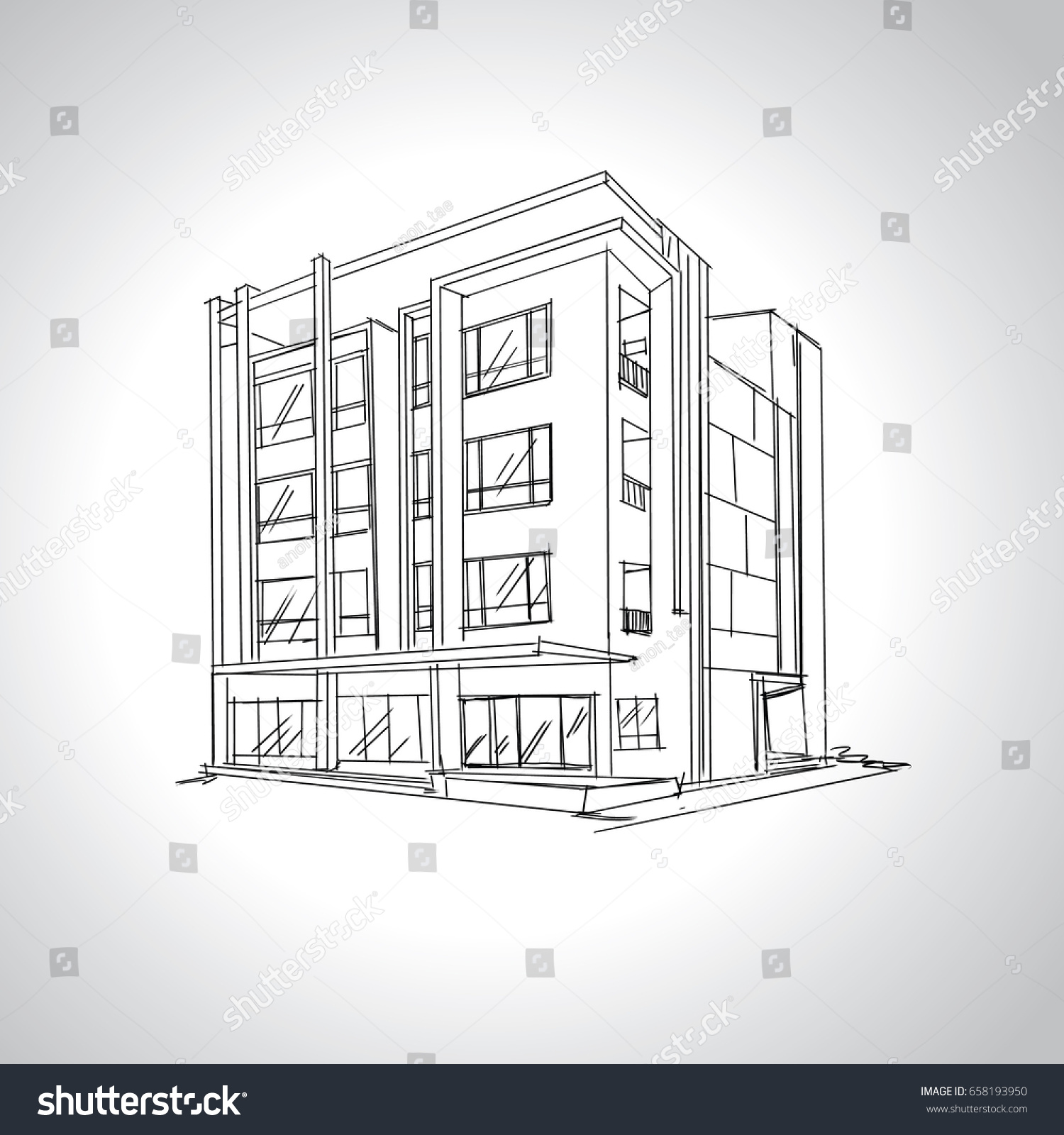 Sketch of modern house architecture drawing free hand
