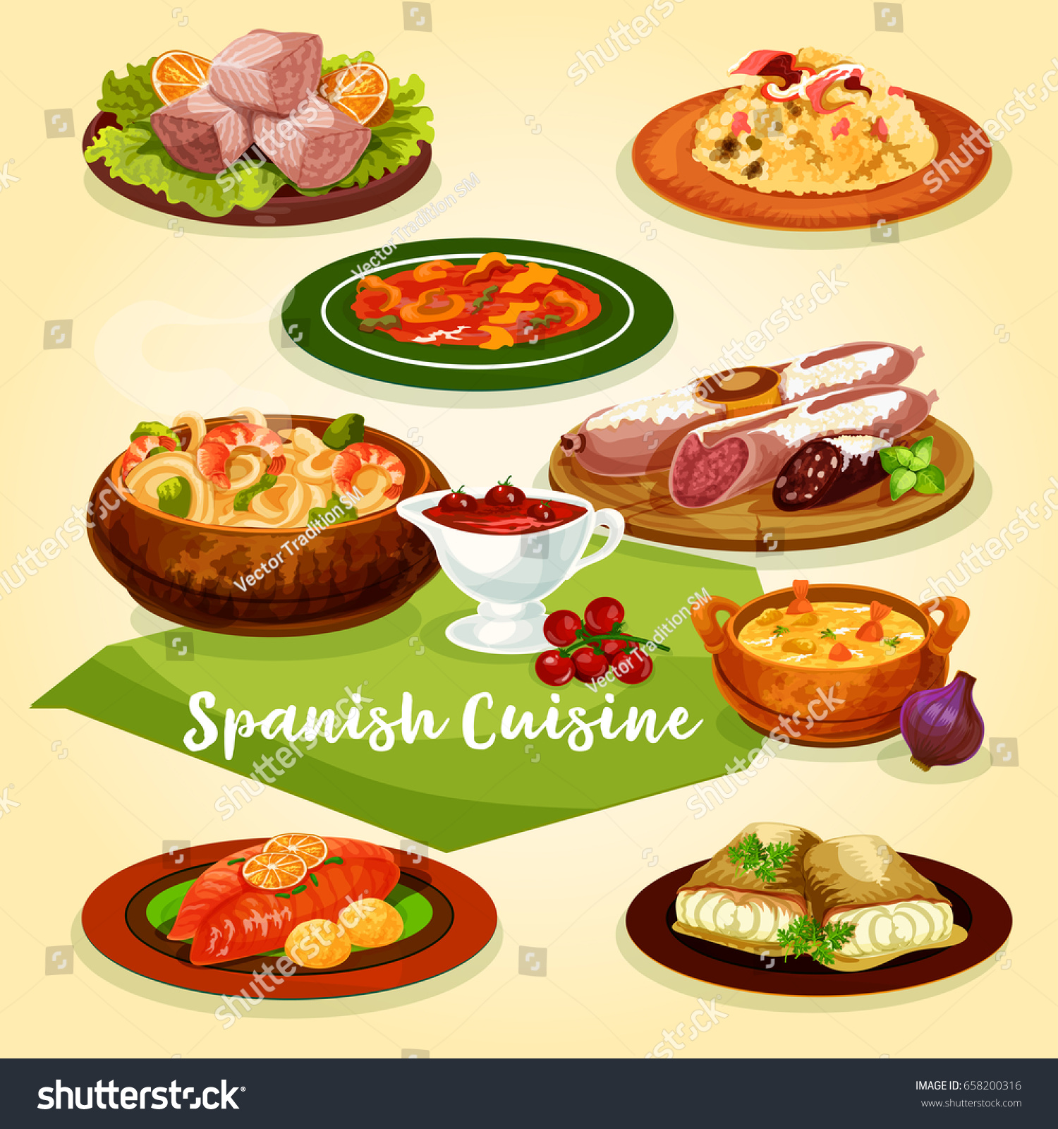 Spanish cuisine meat fish dishes dinner stock vector for Fish dish menu