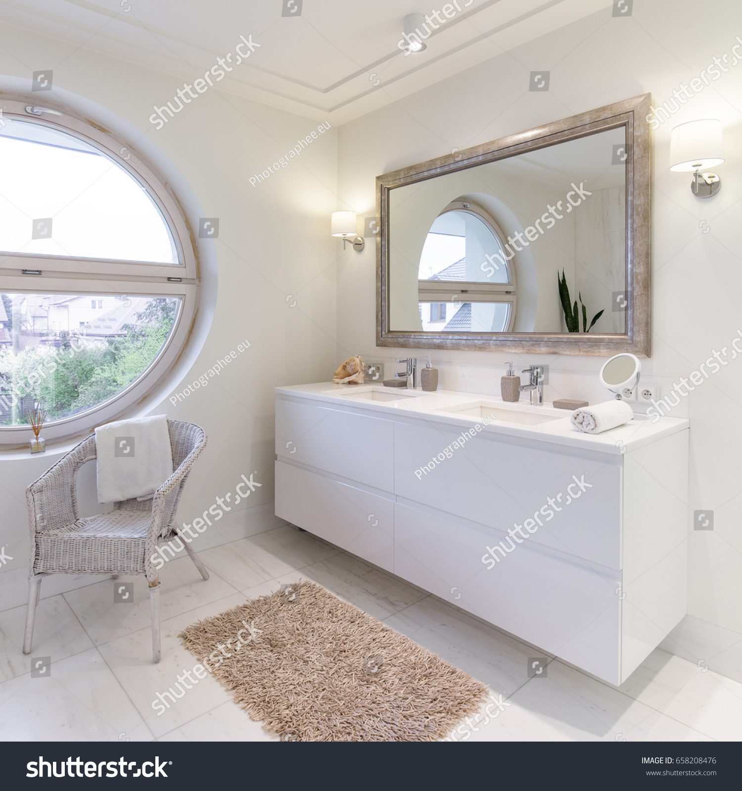 Spacious Bathroom White Glossy Tiles Big Stock Photo (Royalty Free ...
