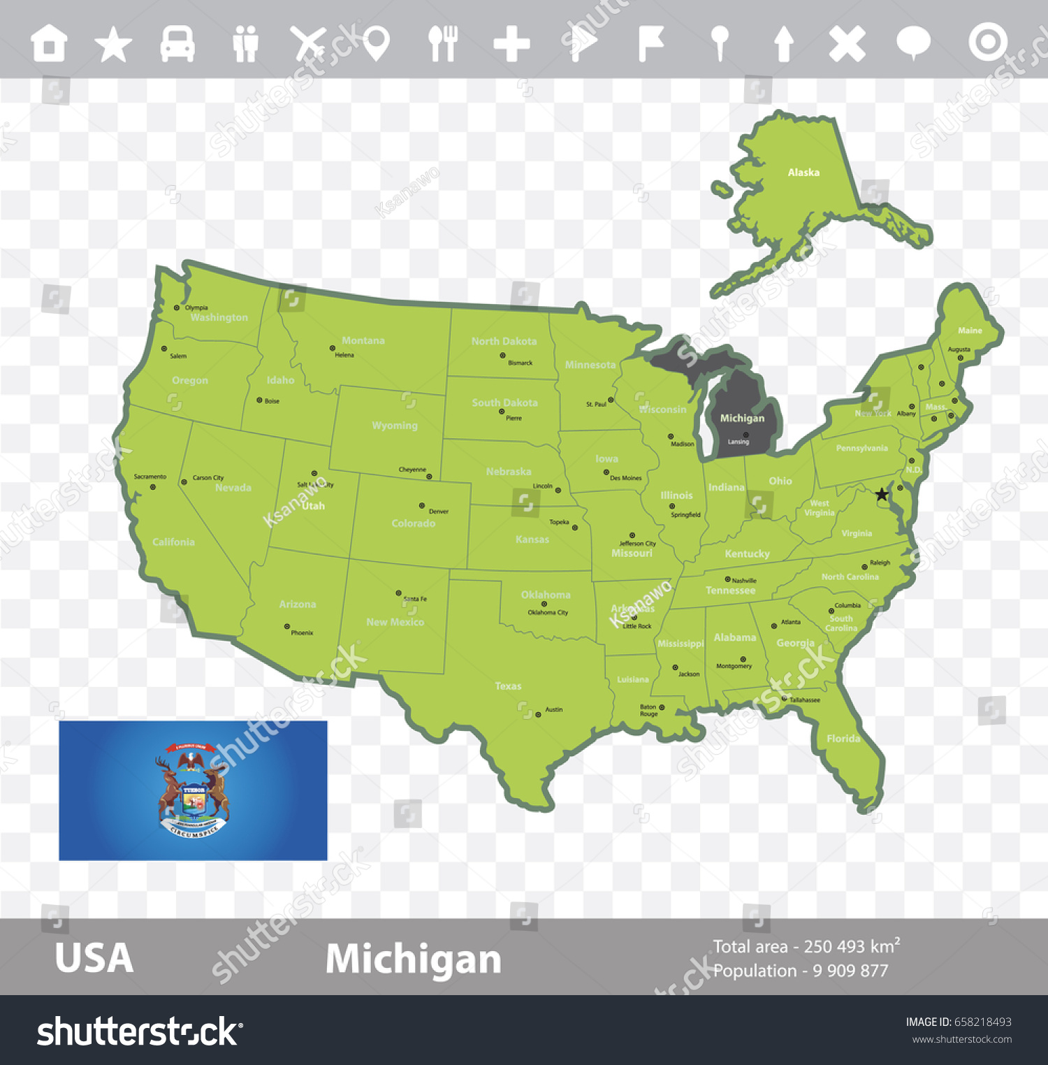 Usa Michigan State Map Large Detailed Administrative Map Of - Michigan state map usa