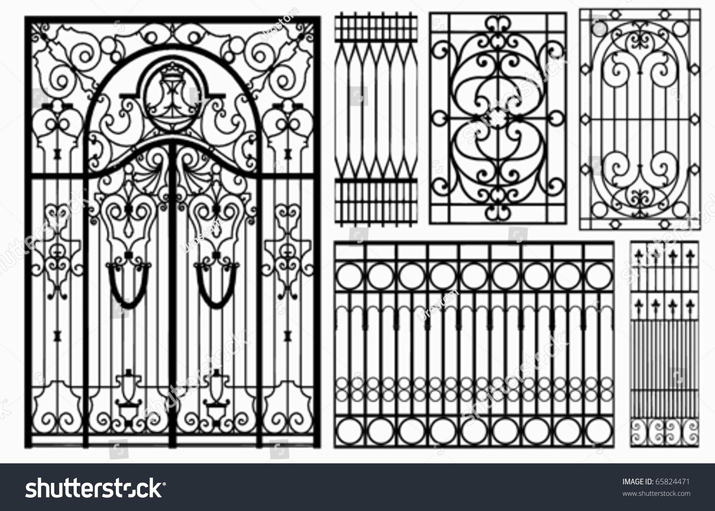 Wrought Iron Gate Fence Vector Stock Vector 65824471