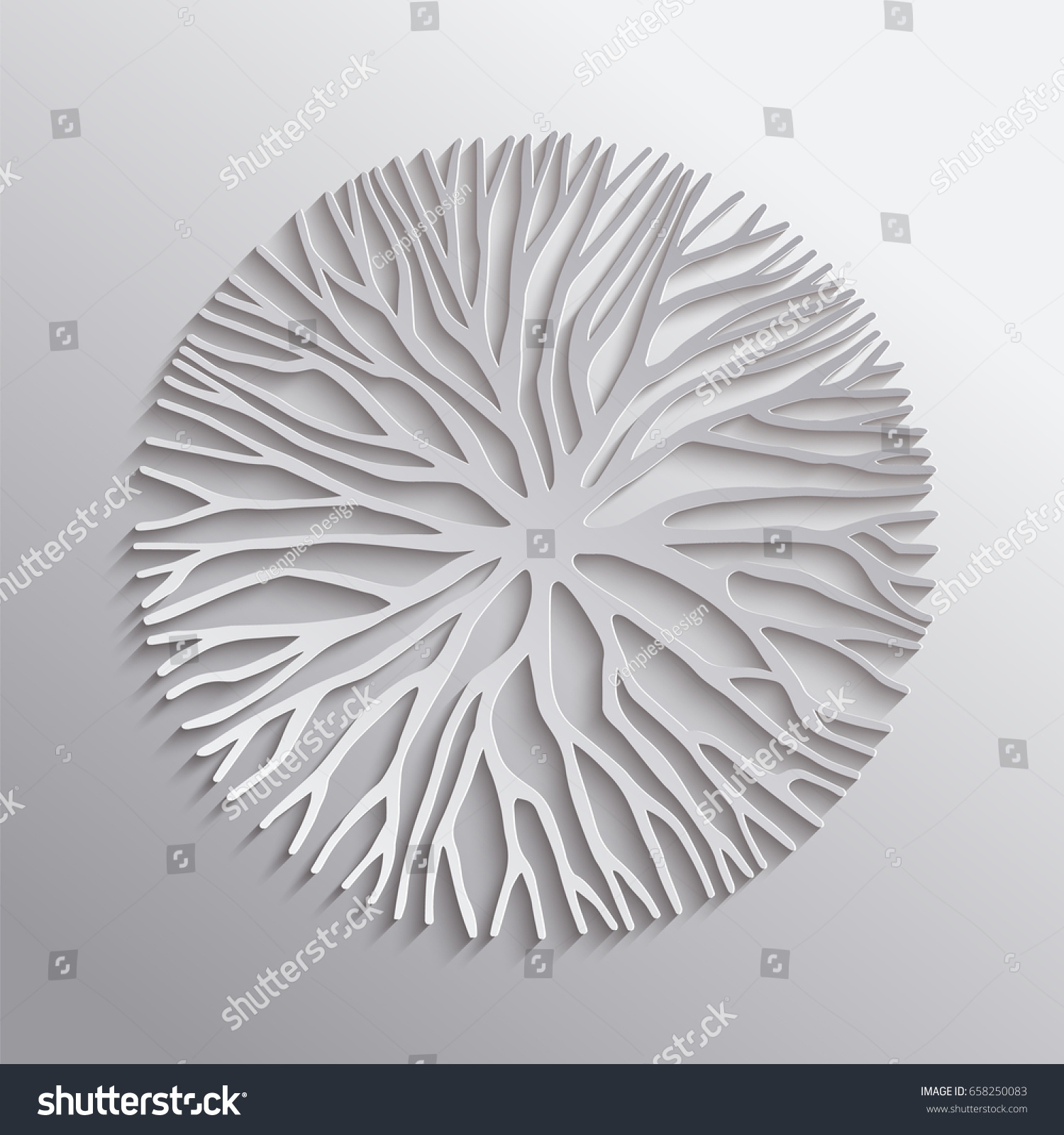 abstract tree circle shape illustration 3d stock vector 658250083