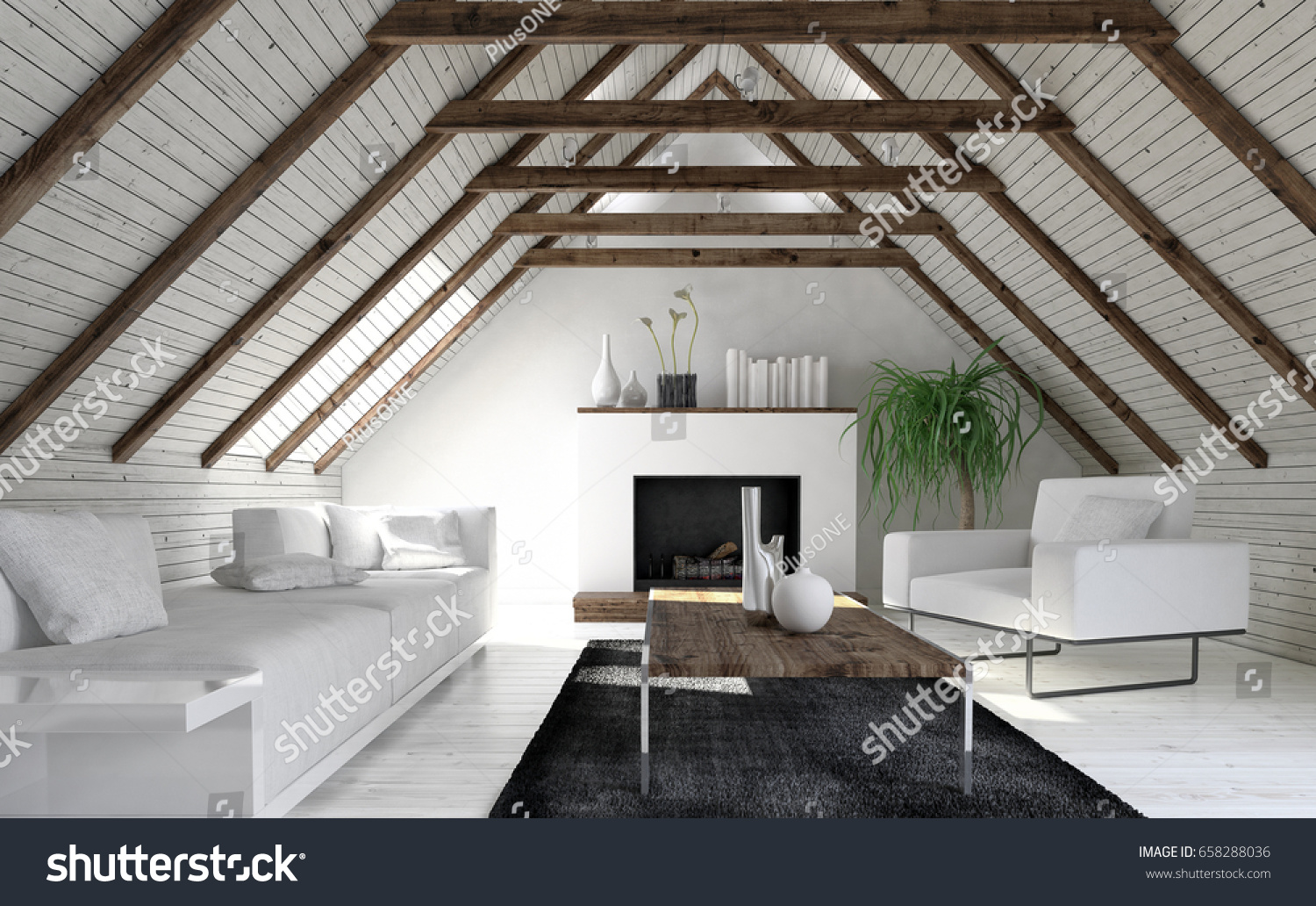 Attic living room in minimalist interior design with white sofa fireplace and coffee table