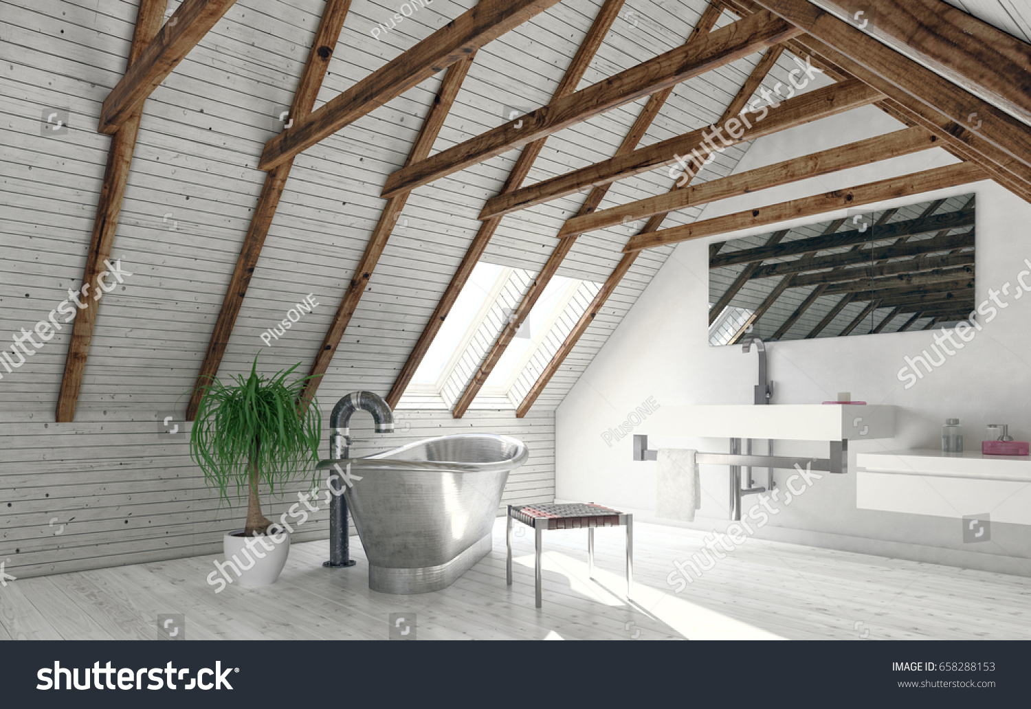 Concept Attic Bathroom White Walls Roof Stock Illustration 658288153 ...