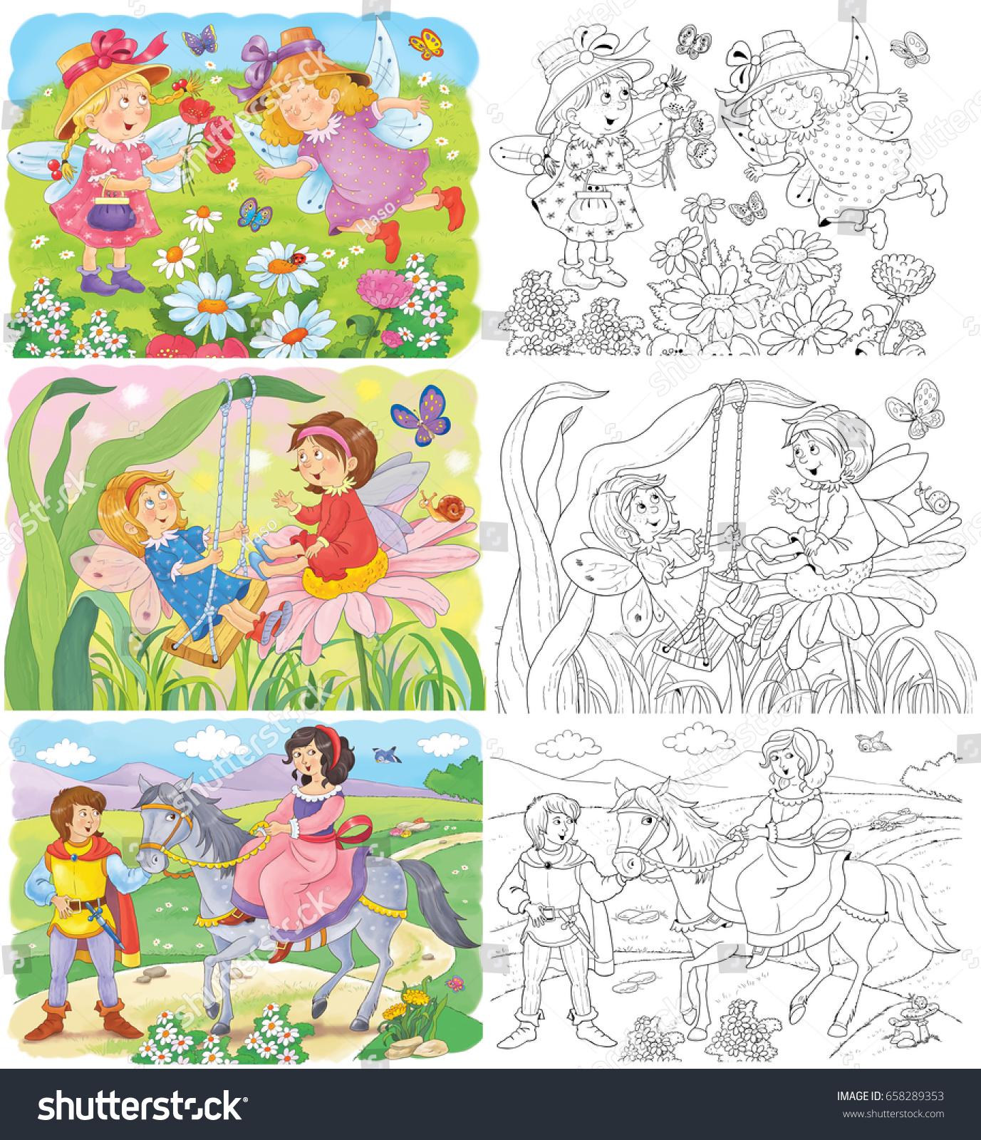 Set Cute Fairy Tale Illustrations Cute Stock Illustration ...