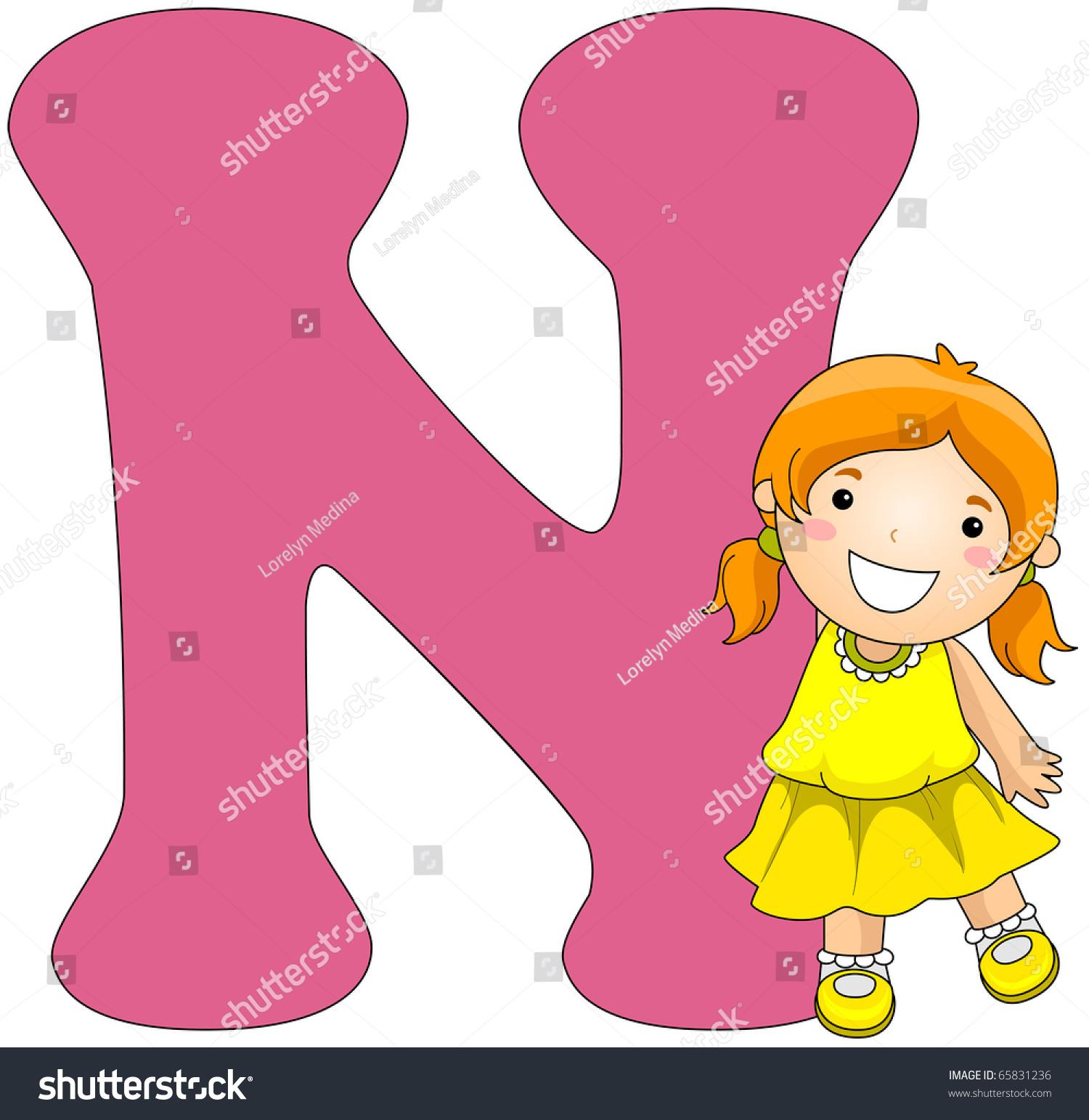Illustration Girl Posing Beside Letter N Stock Vector (Royalty Free ...