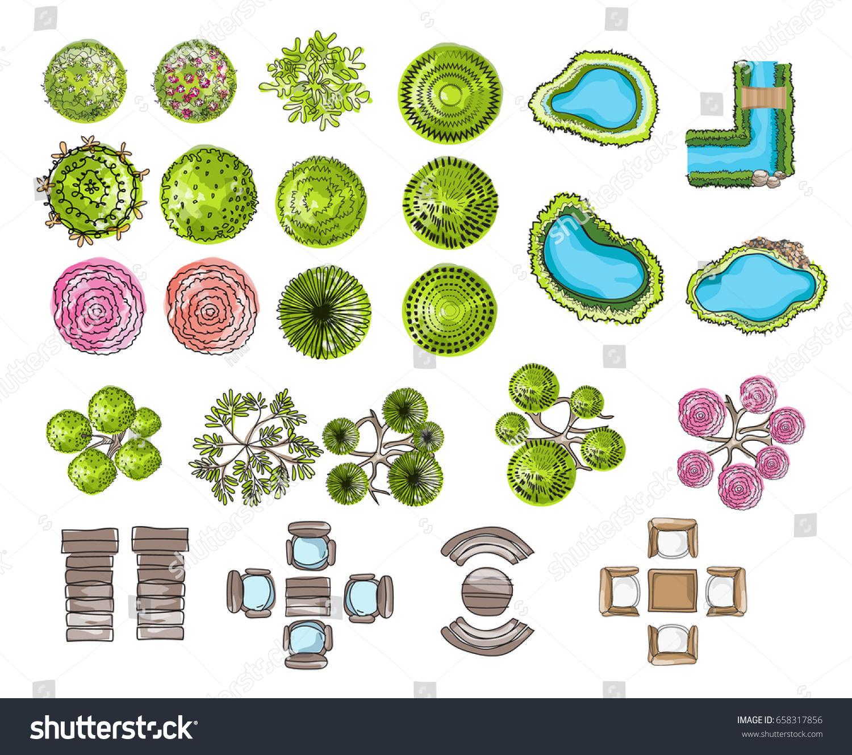 Set Tree Top Symbols Architectural Landscape Stock Vector Royalty