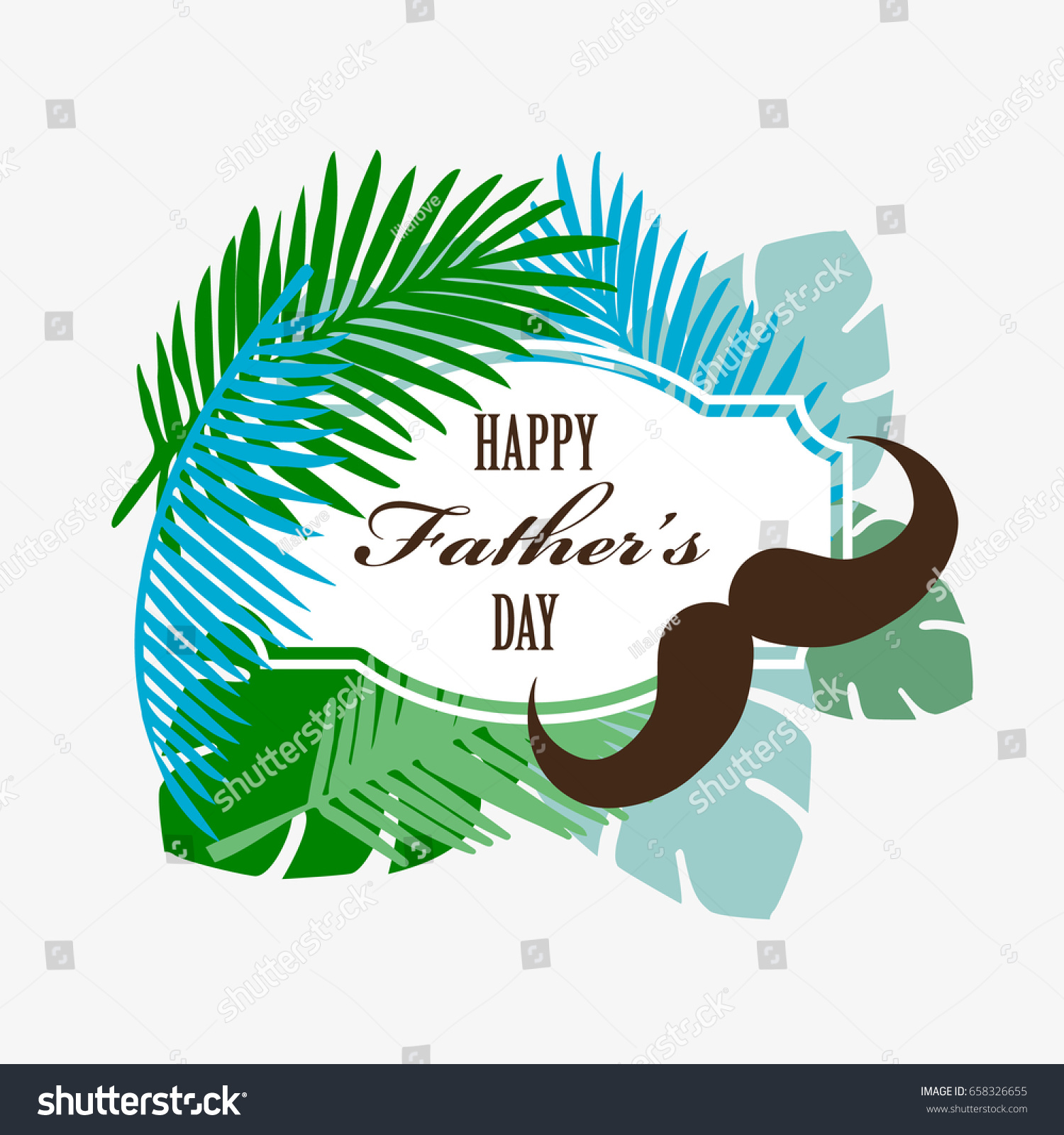 Fathers Day Greetings Card Tropical Design Stock Vector Royalty