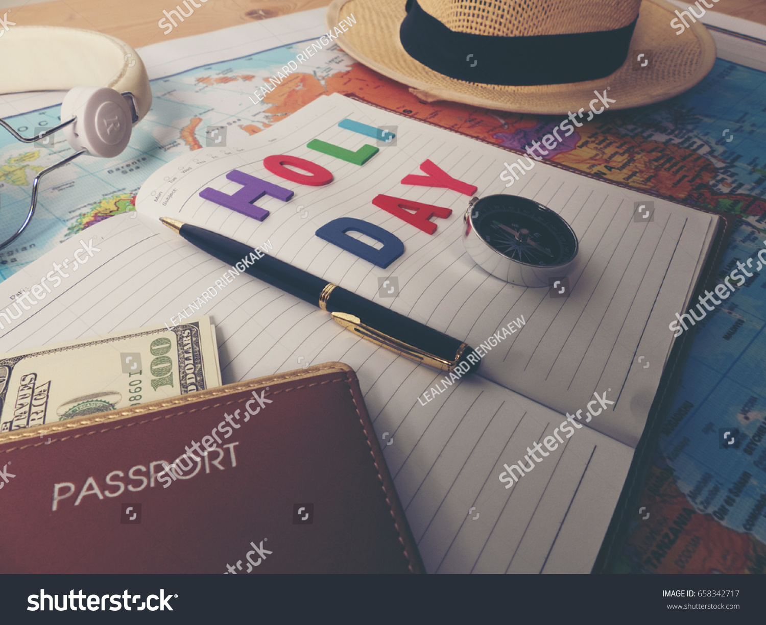 Accessories travel on world map stock photo royalty free 658342717 accessories for travel on world map gumiabroncs Images