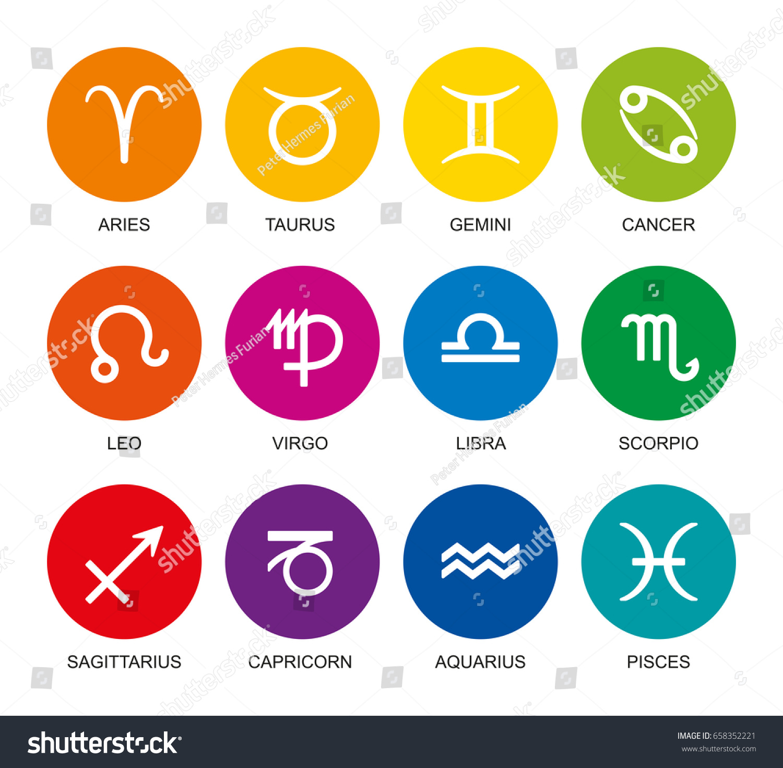 Rainbow Colored Astrological Signs Zodiac Twelve Stock Vector