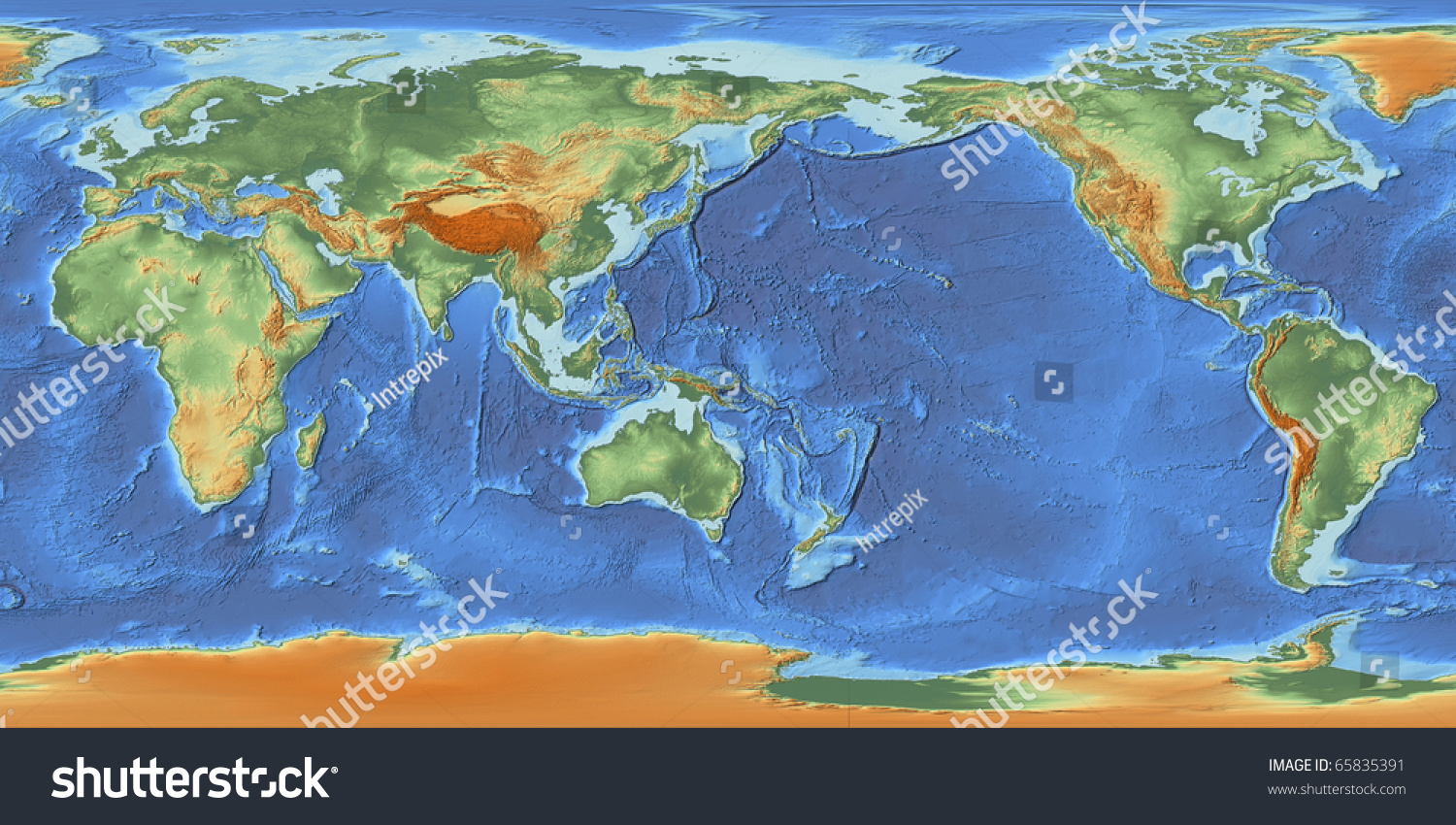 Shaded relief world map centered on stock illustration 65835391 a shaded relief world map centered on 150 e longitude showing land elevation and bathymetry derived gumiabroncs Choice Image