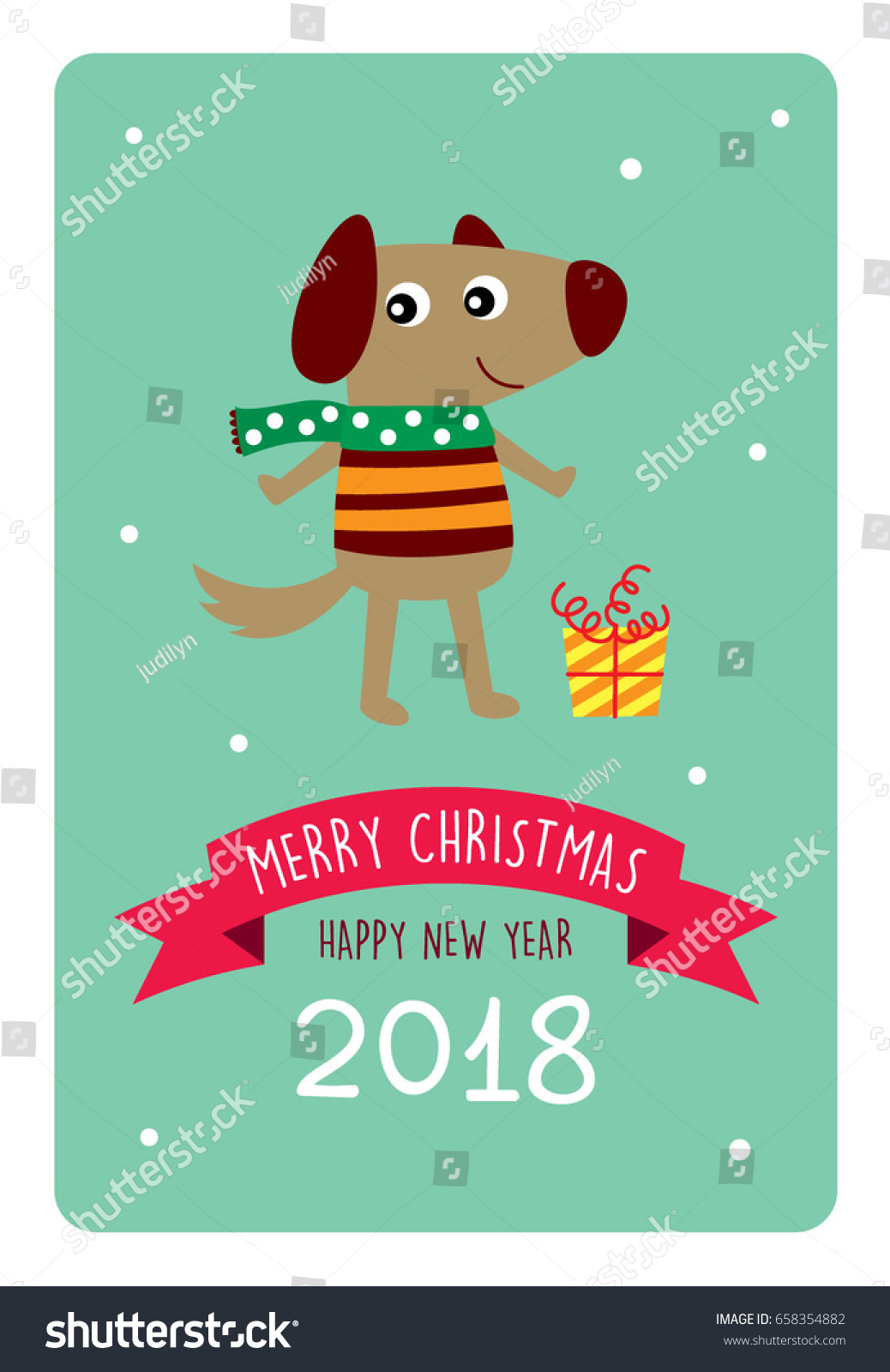 cute puppy dog merry christmas and happy new year 2018 greeting