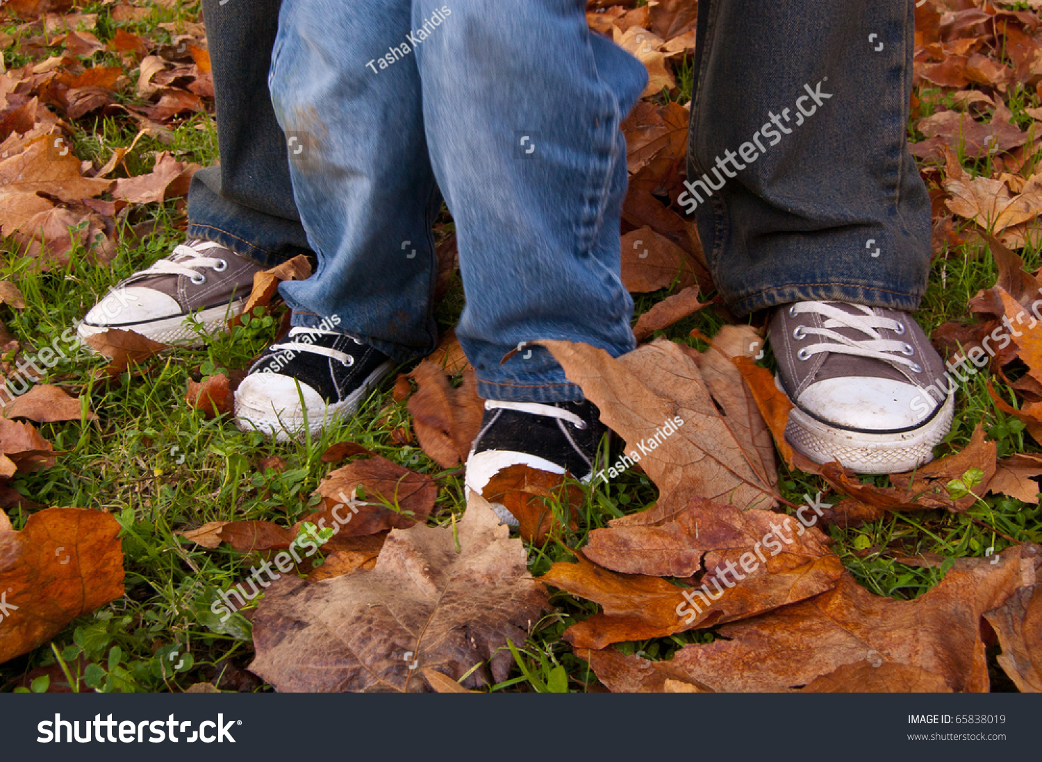 Father Son Matching Shoes Autumn Leaves Stock Photo Edit Now
