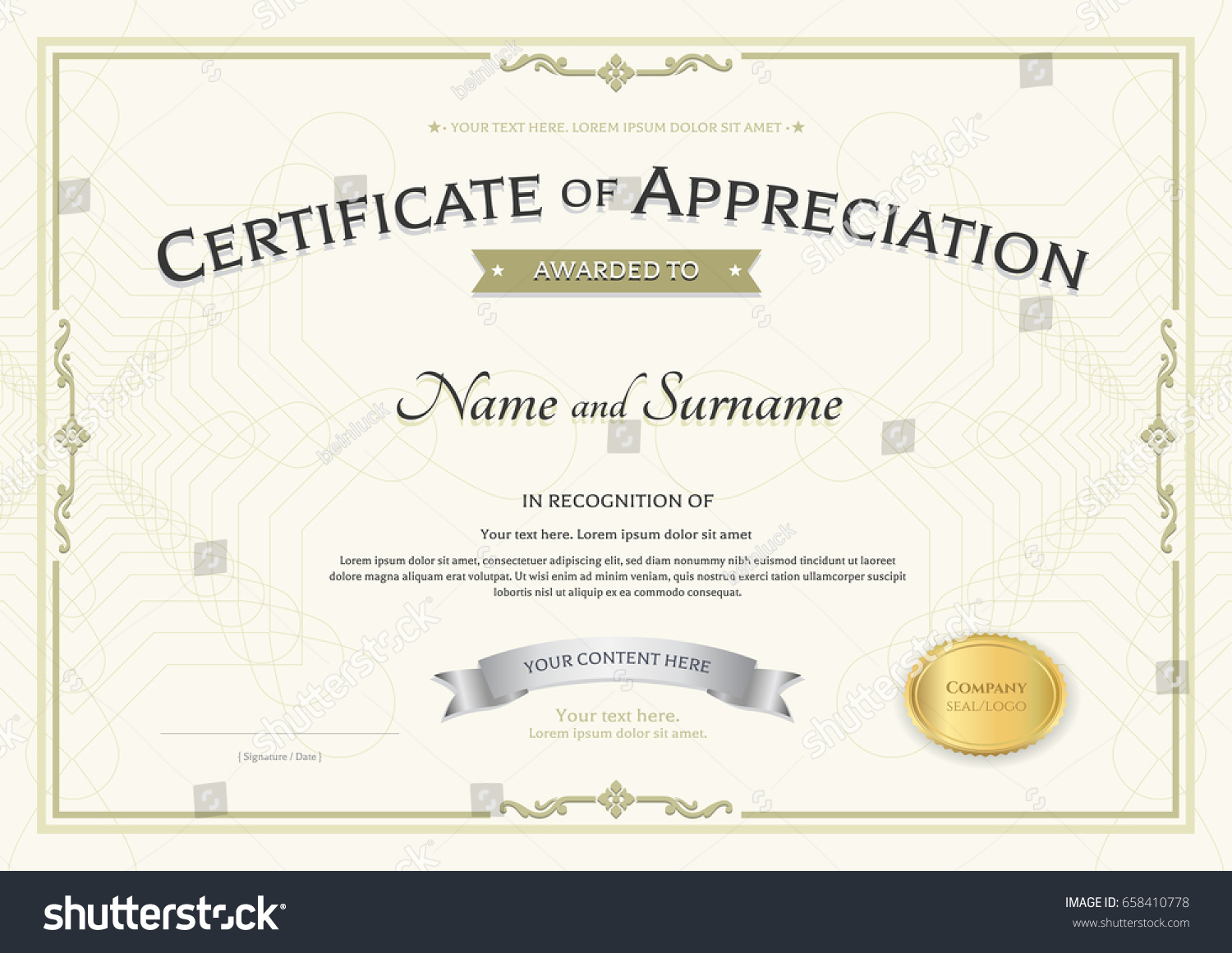 Certificate appreciation template silver award ribbon stock vector certificate of appreciation template with silver award ribbon on abstract guilloche background with vintage border style yelopaper Images