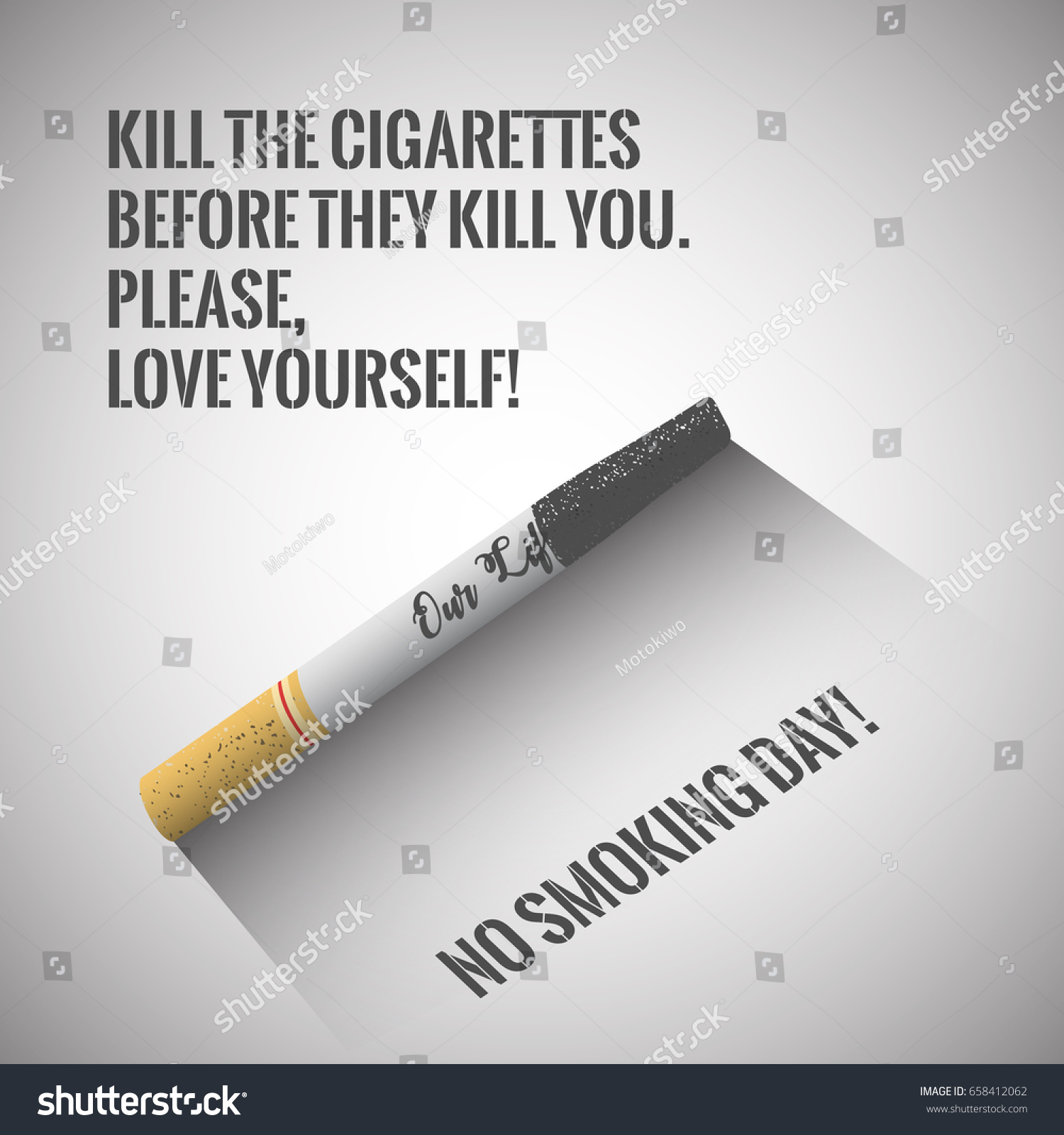 No Smoking Day Poster Cigarette Quote Stock Vector Royalty Free 658412062