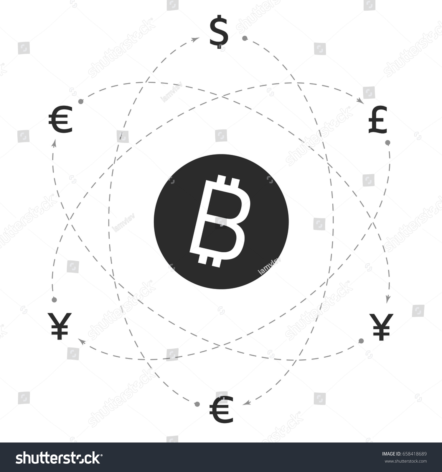 Bitcoin Logo And Signs Of Other Currencies With Exchange Lines Remittance Editable Eps10