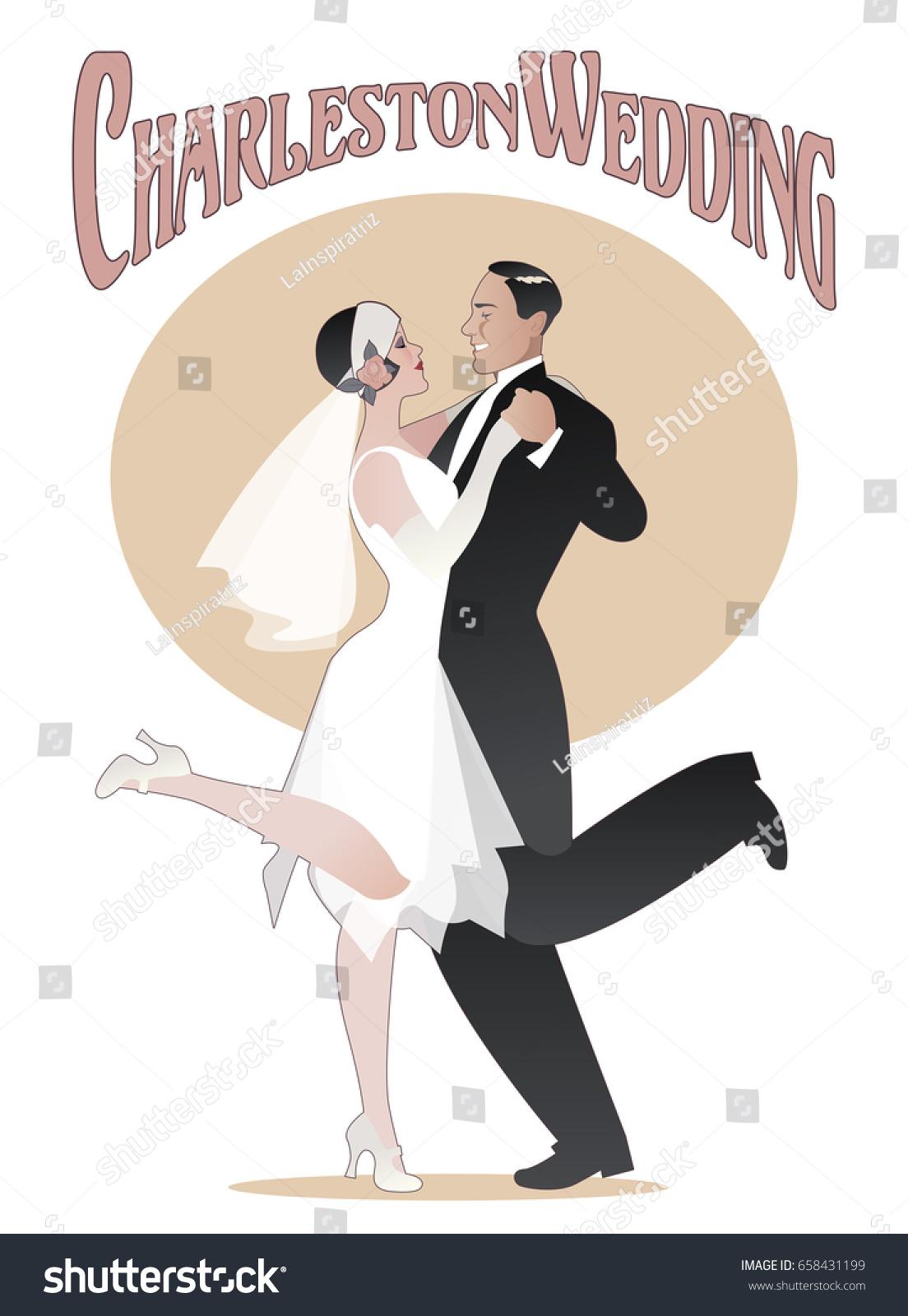 Wedding Dance Elegant Couple Wearing 20s Style Clothes Dancing Charleston