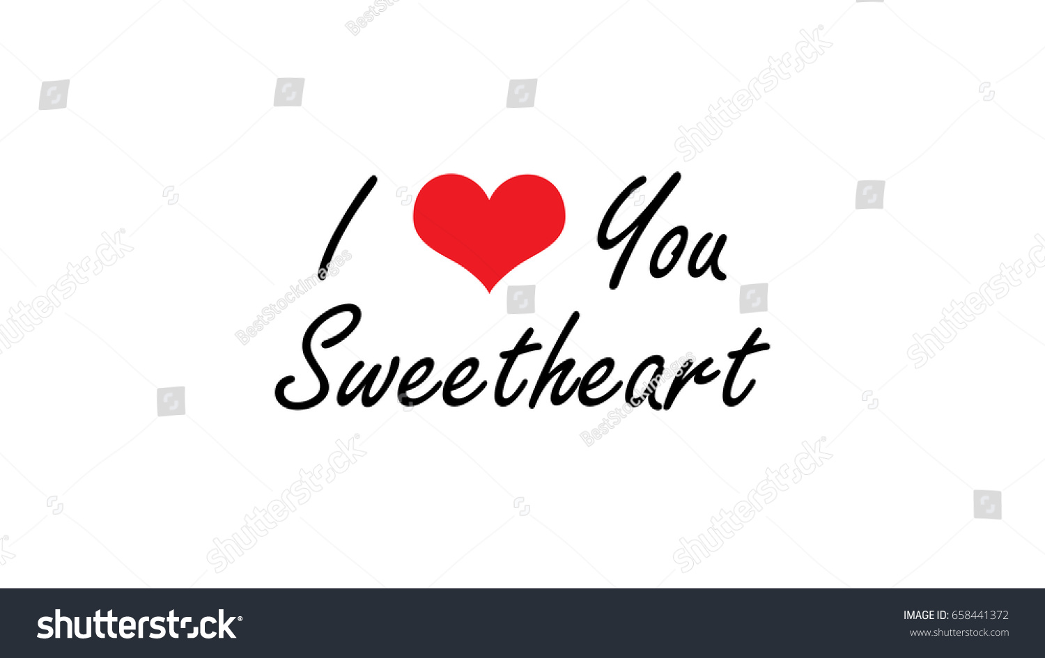 High Resolution Love You Sweetheart Quote Stock Illustration
