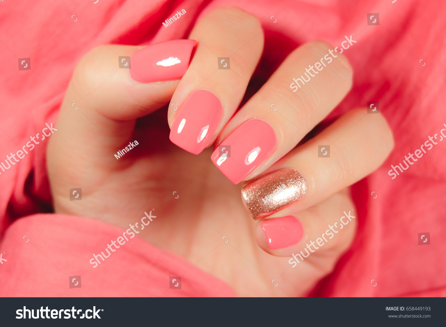 Multicolored Manicure Different Shades Pink Nail Stock Photo Edit Now 658449193