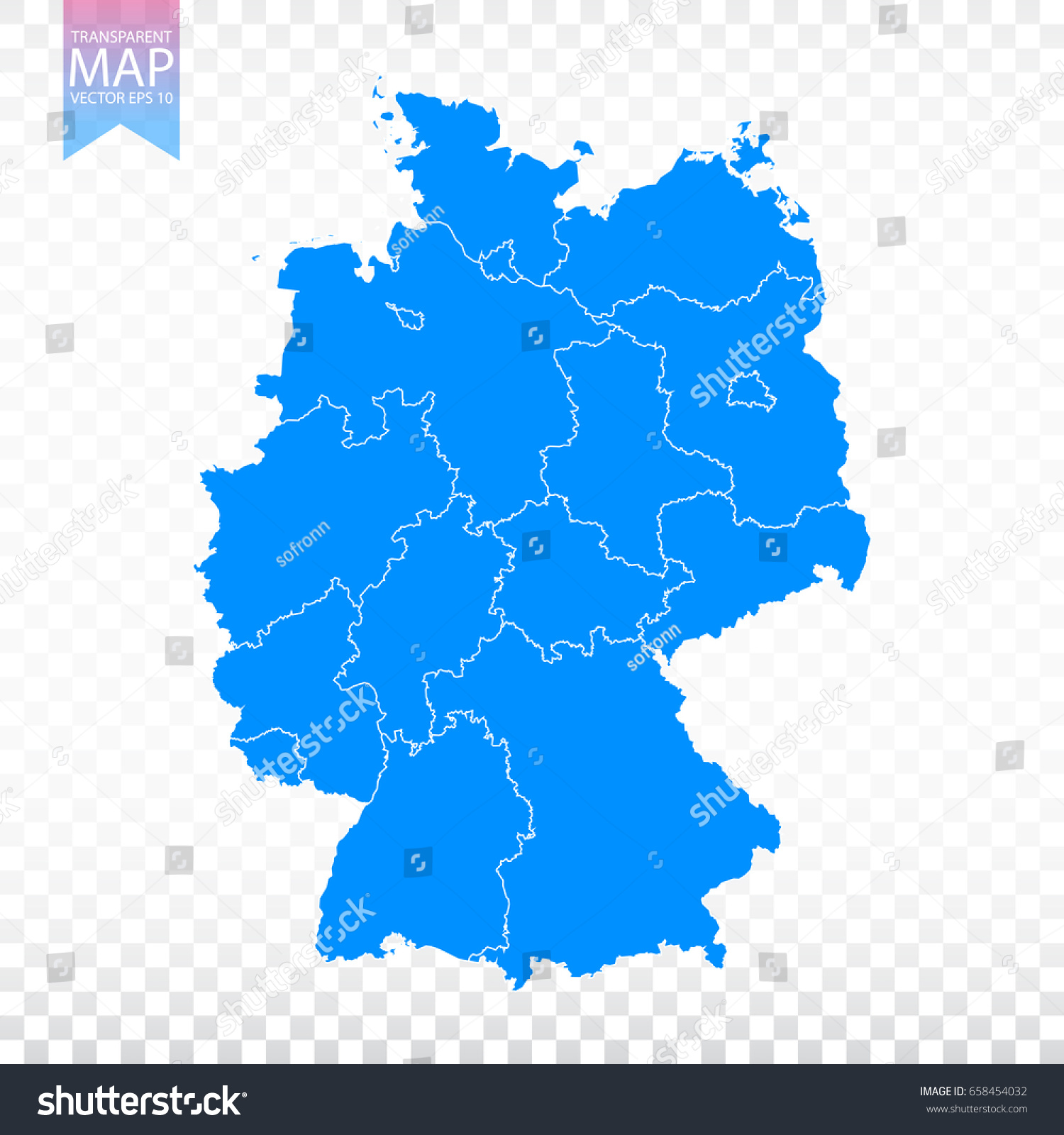 Transparent High Detailed Blue Map Germany Stock Vector - Germany map eps