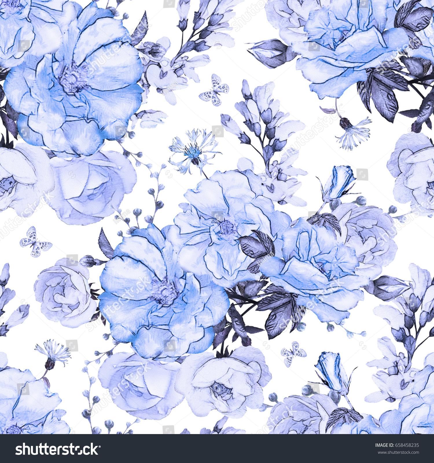 seamless pattern blue flowers leaves on stock illustration