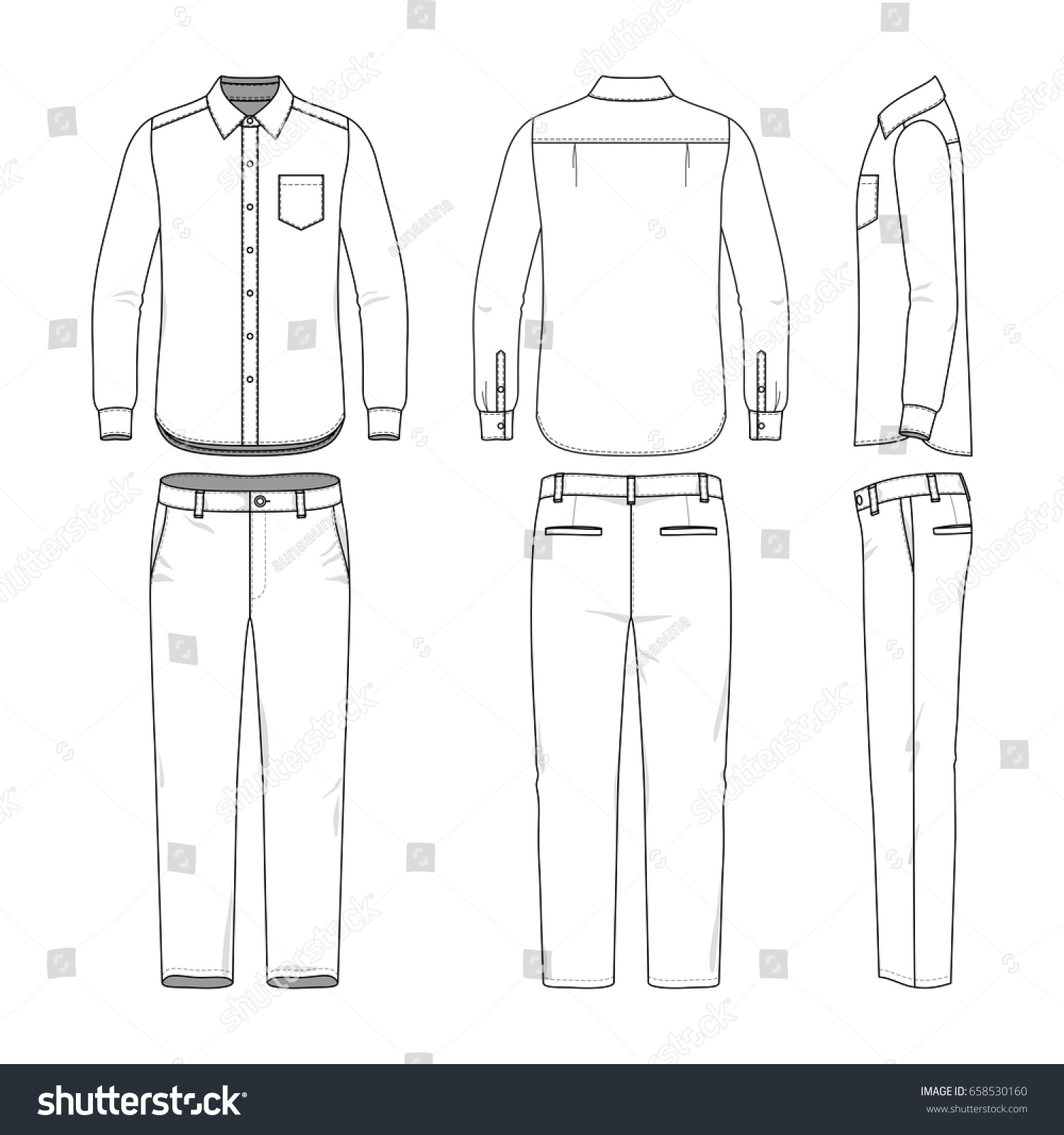 front back and side views of mens shirt and pants blank clothing templates in