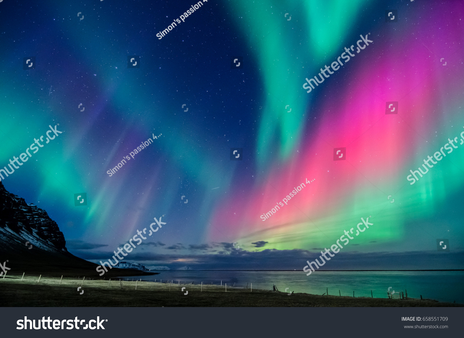 colorful northern light in iceland #658551709 - 123PhotoFree.com