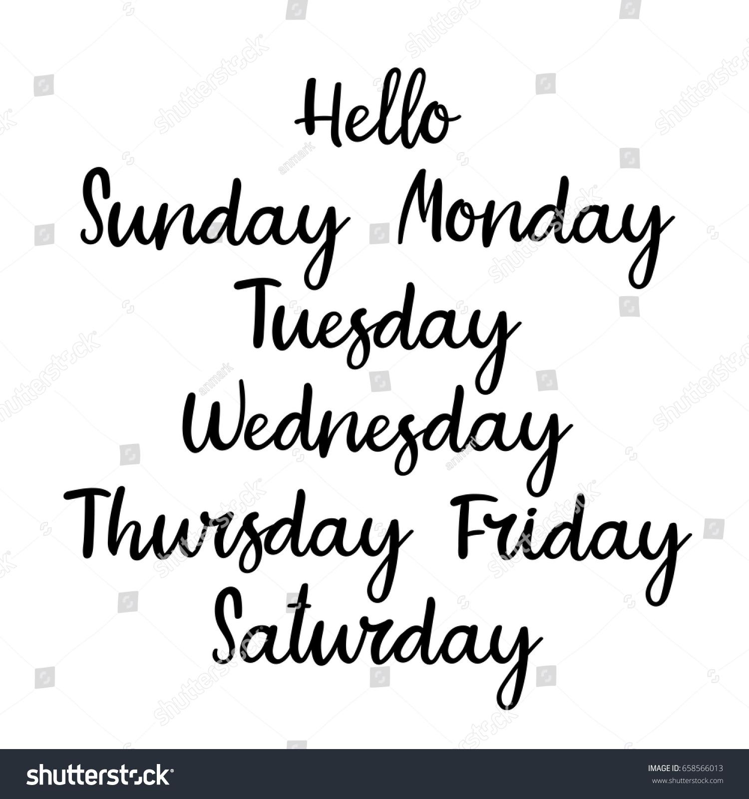 handwritten week days sunday monday tuesday のベクター画像素材