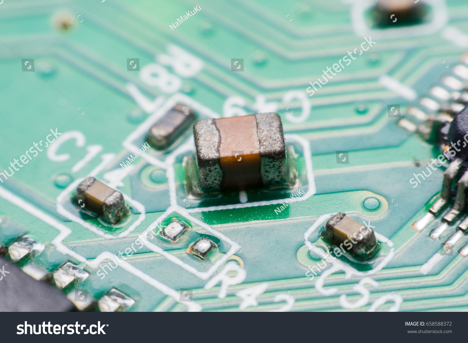 Closeup Electronic Hardware Resistor Condensers Assembly Stock Photo Circuit Board Of A Cell Phone Royalty Free Image And On The
