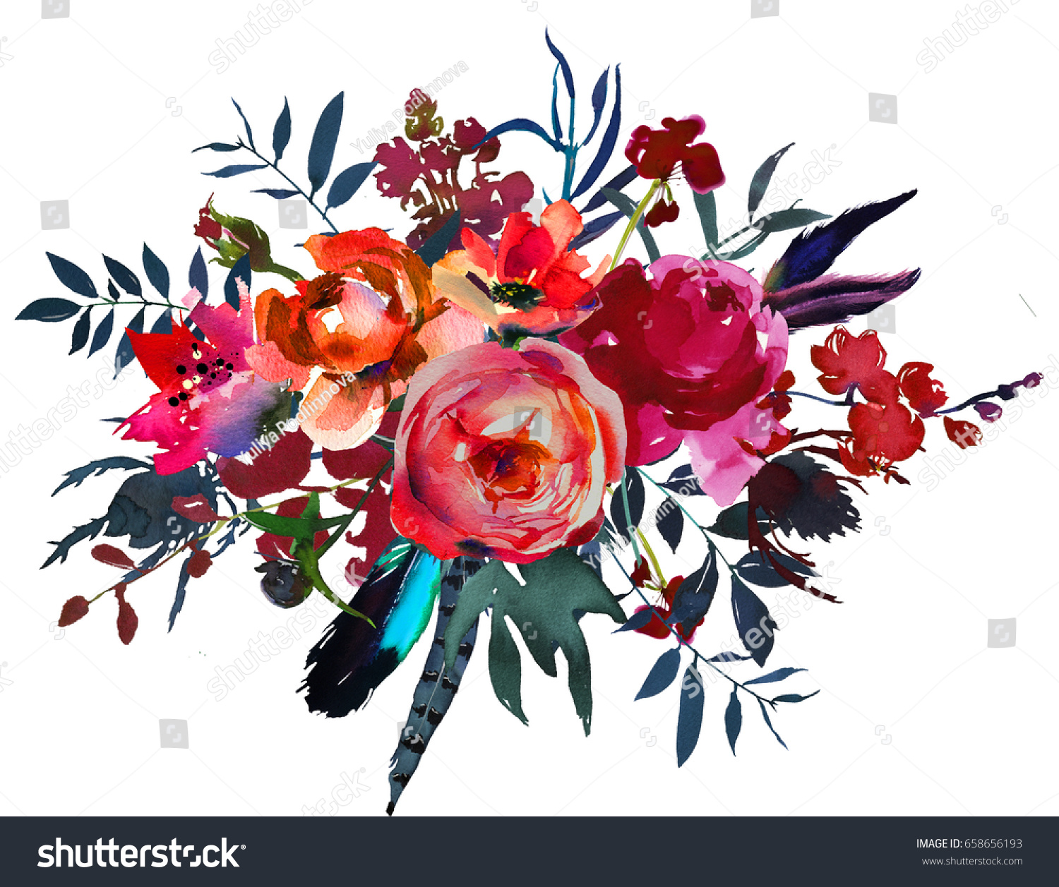 Ilustracoes Stock Imagens E Vetores De Watercolor Flowers Red Navy Blue Pink 658656193