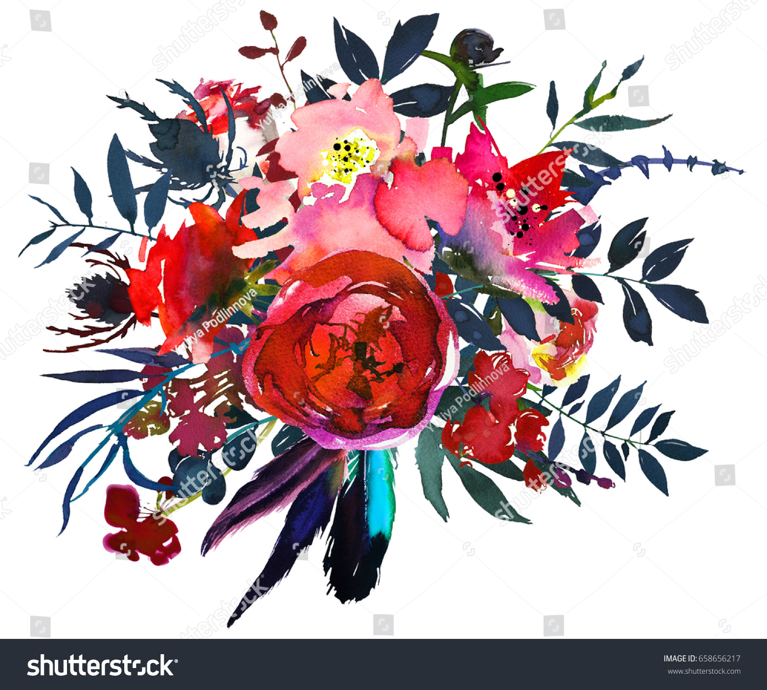 Watercolor Flowers Red Navy Blue Baby Stock Illustration 658656217 ...