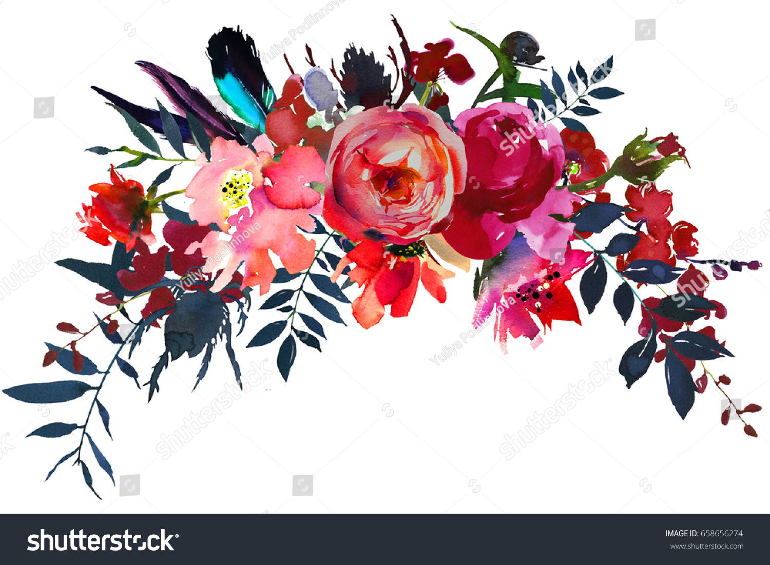 Watercolor Flowers Red Navy Blue Magenta Stock Illustration ...