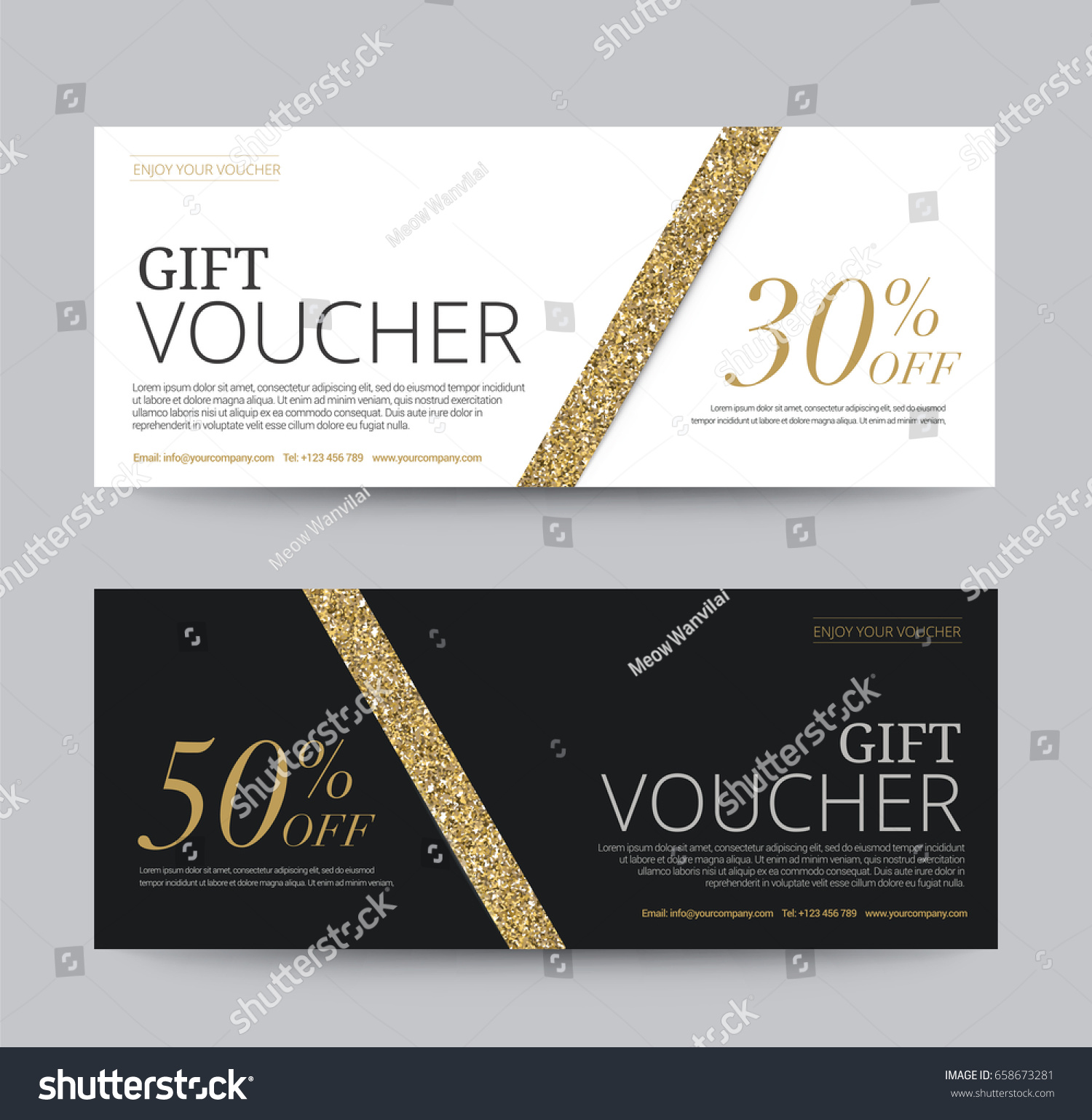 Gift Voucher Template Promotion Sale Discount Stock Vector (Royalty ...