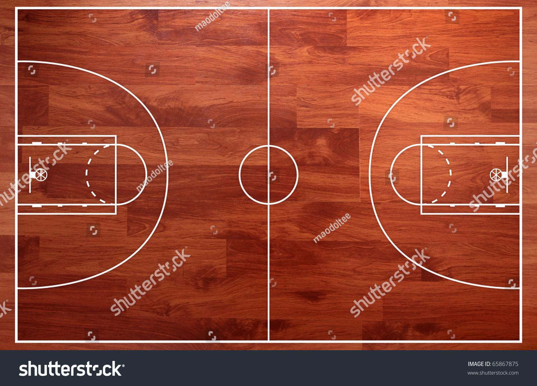 Basketball Court Floor Plan: Basketball Court Floor Plan On Parquet Background Stock