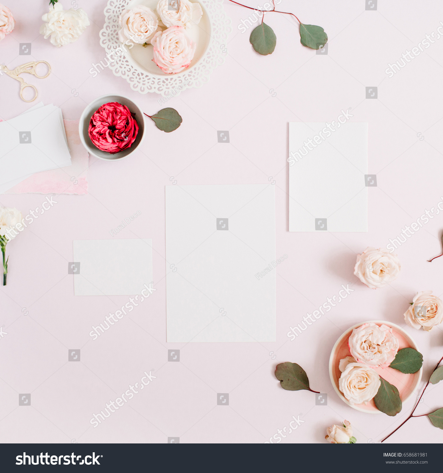 Wedding Invitation Cards Template Pink Red Stock Photo Edit Now 658681981
