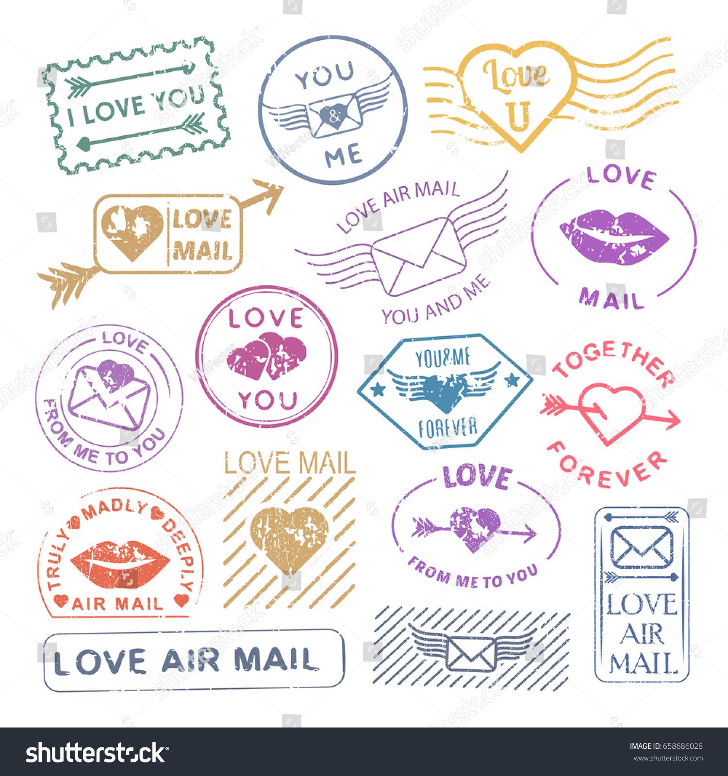 Romantic Letter Mail Stamp Set Valentine Stock Vector