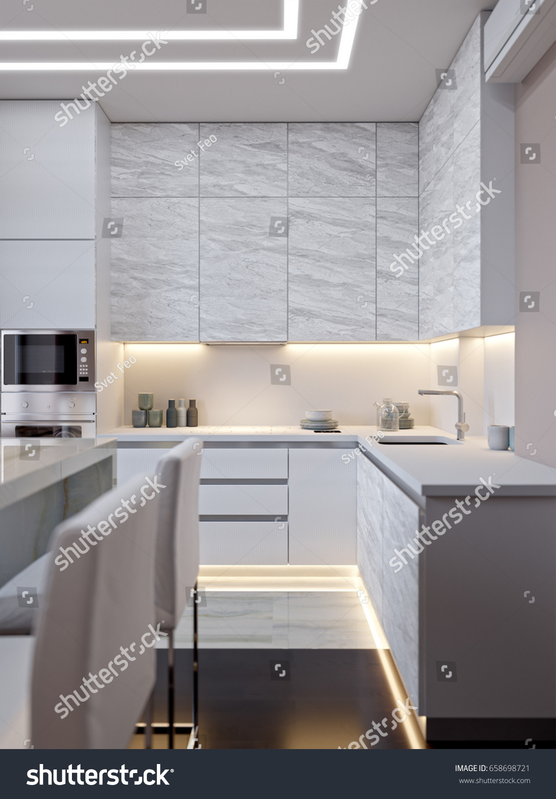 modern white and gray kitchen. Modern Urban Contemporary White Gray Kitchen Stock Illustration 658698721 - Shutterstock And S