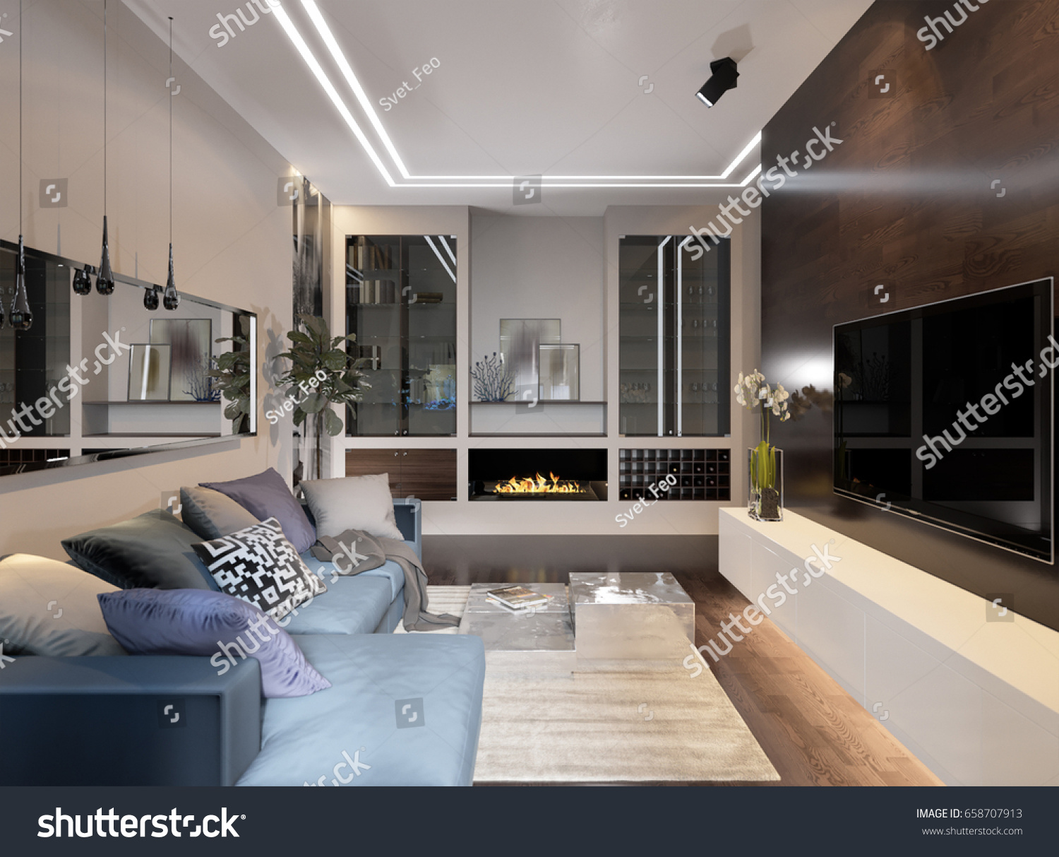 Urban Living Room Lighting Modern Contemporary Hotel Stock Illustration