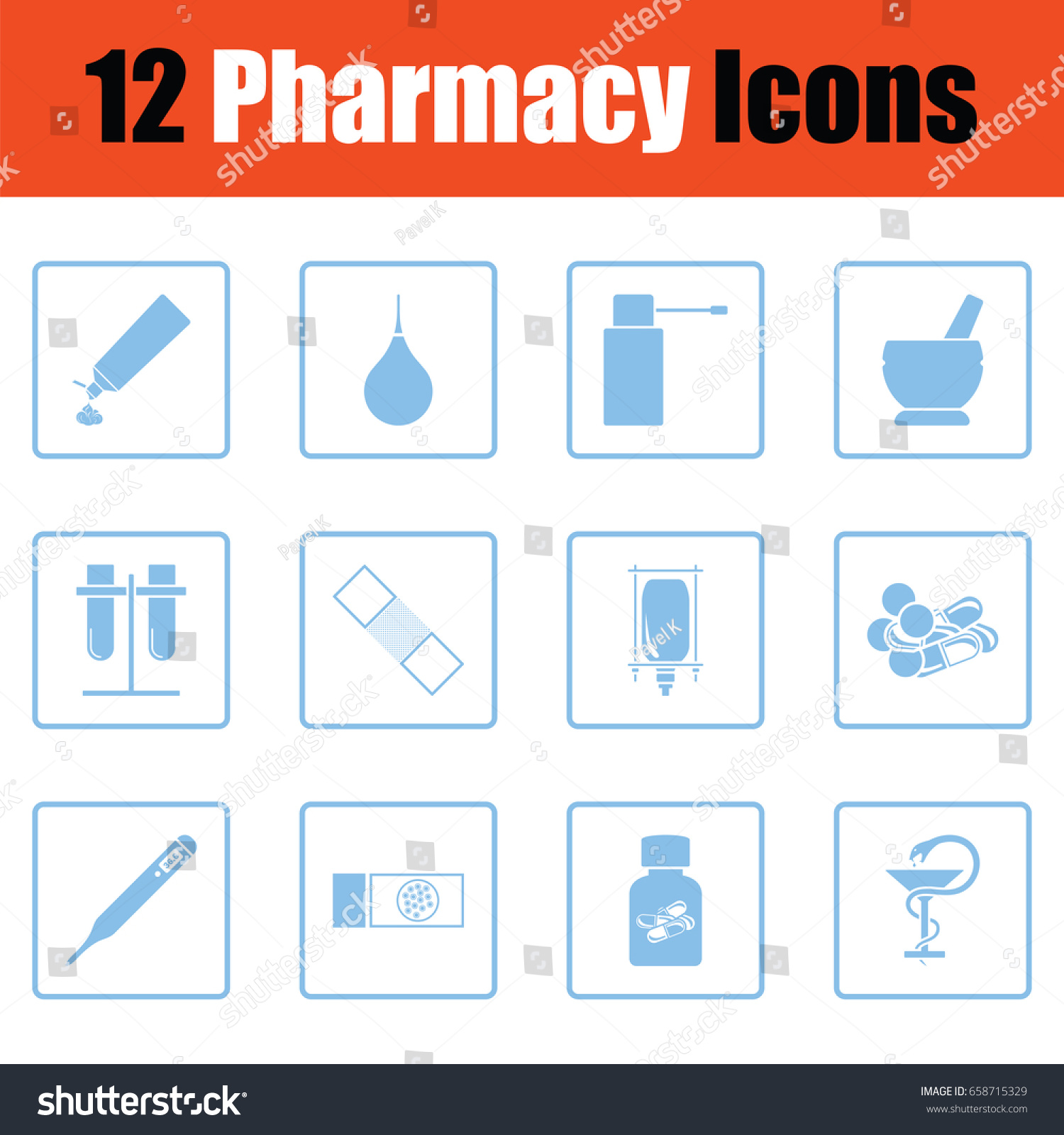 Set Twelve Pharmacy Icons Blue Frame Stock Vector (Royalty Free ...